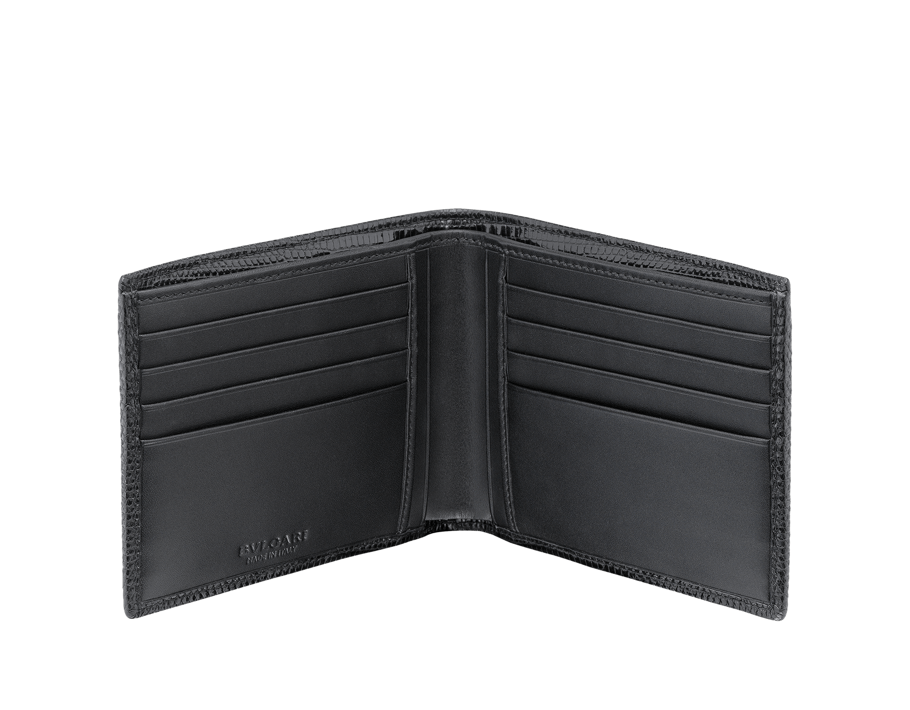 Wallet hipster for men in black shiny lizard skin and royal nappa lining. Brass palladium plated hardware featuring the BVLGARI BVLGARI motif. 285327 image 2
