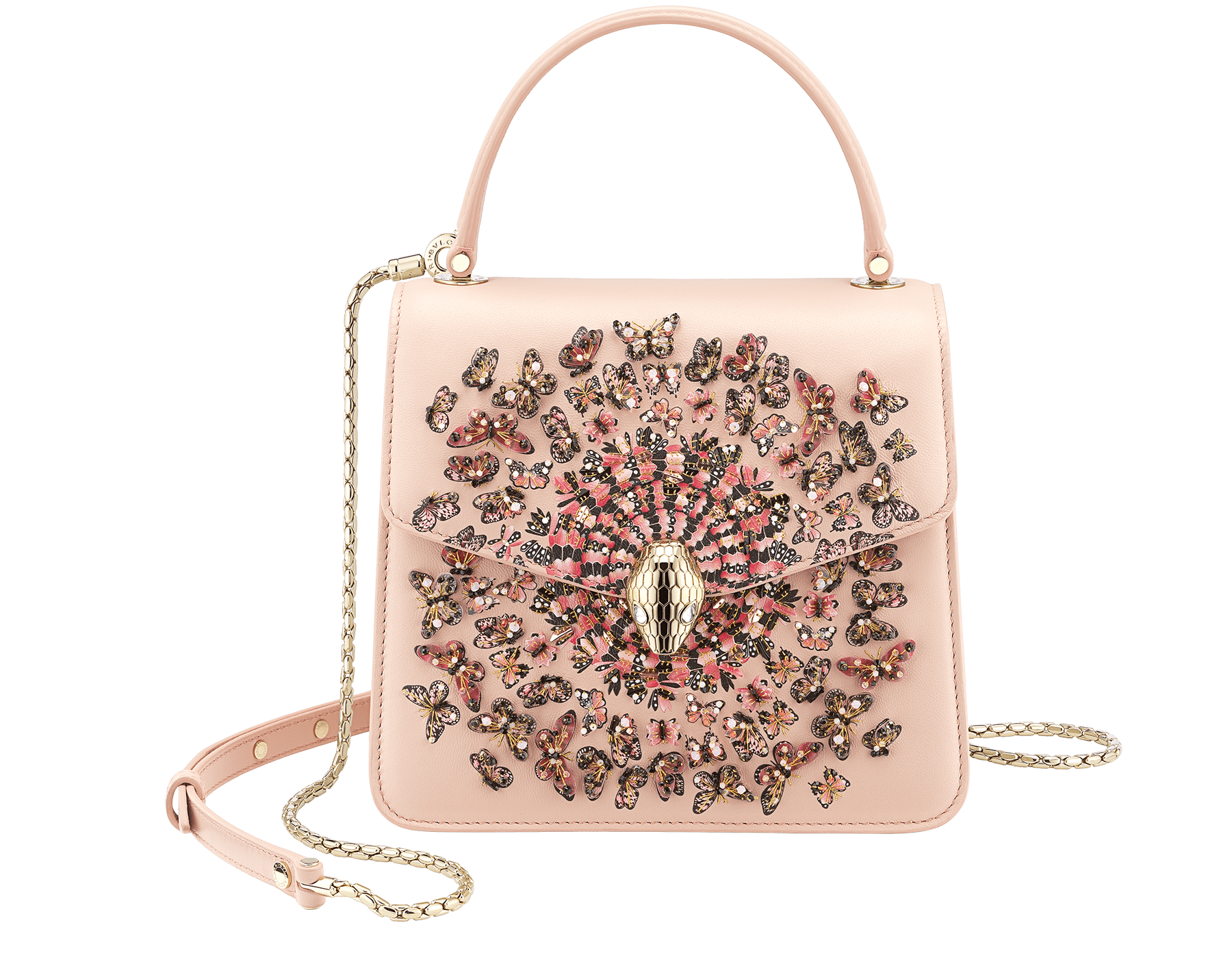 """Mary Katrantzou x Bvlgari"" top handle bag in black nappa leather, with black nappa leather inner lining. New Serpenti head closure in gold-plated brass, finished with seductive crystal eyes. Special Edition. MK-Bejewelled image 1"