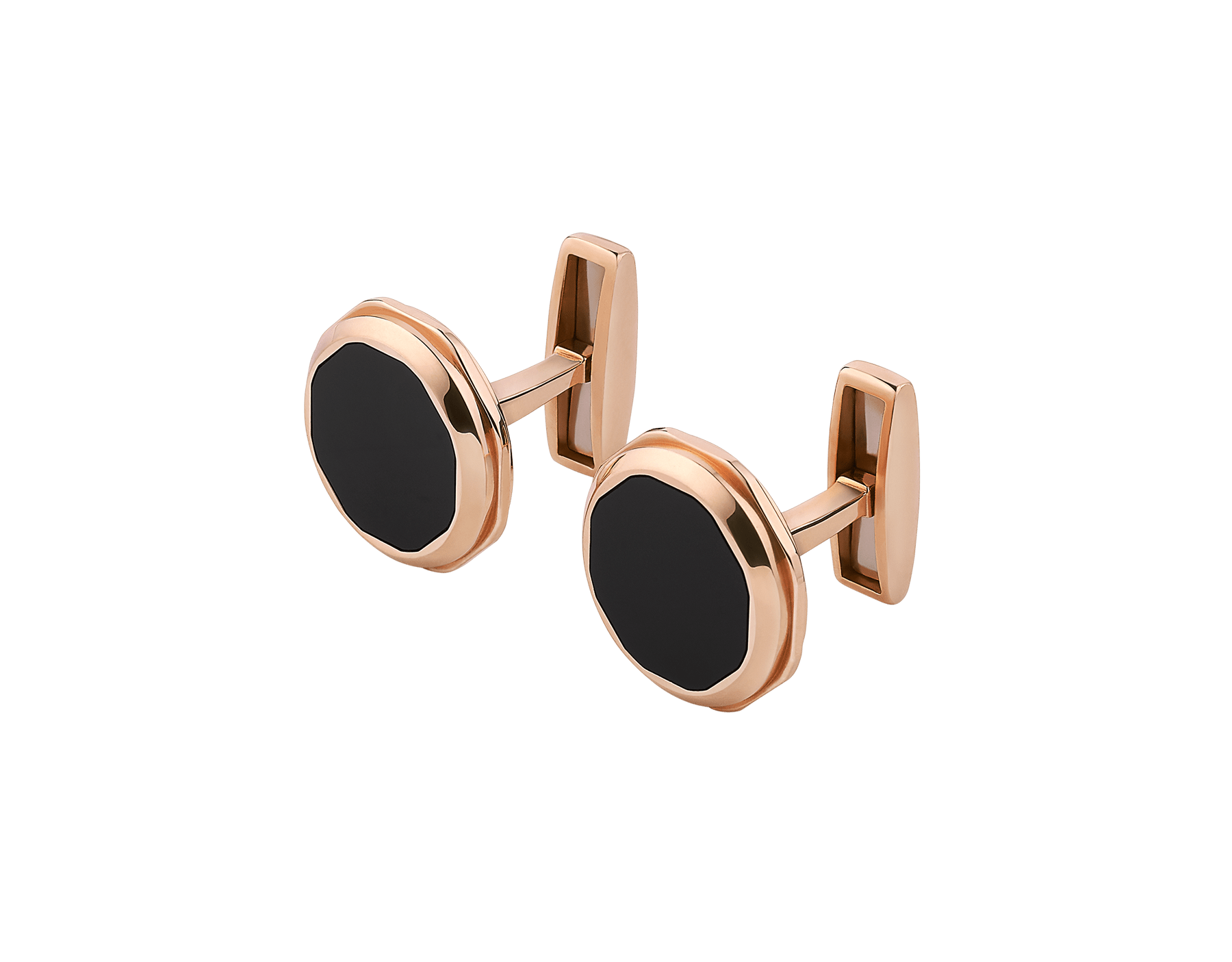 Octo 18 kt rose gold cufflinks set with onyx elements 348330 image 2