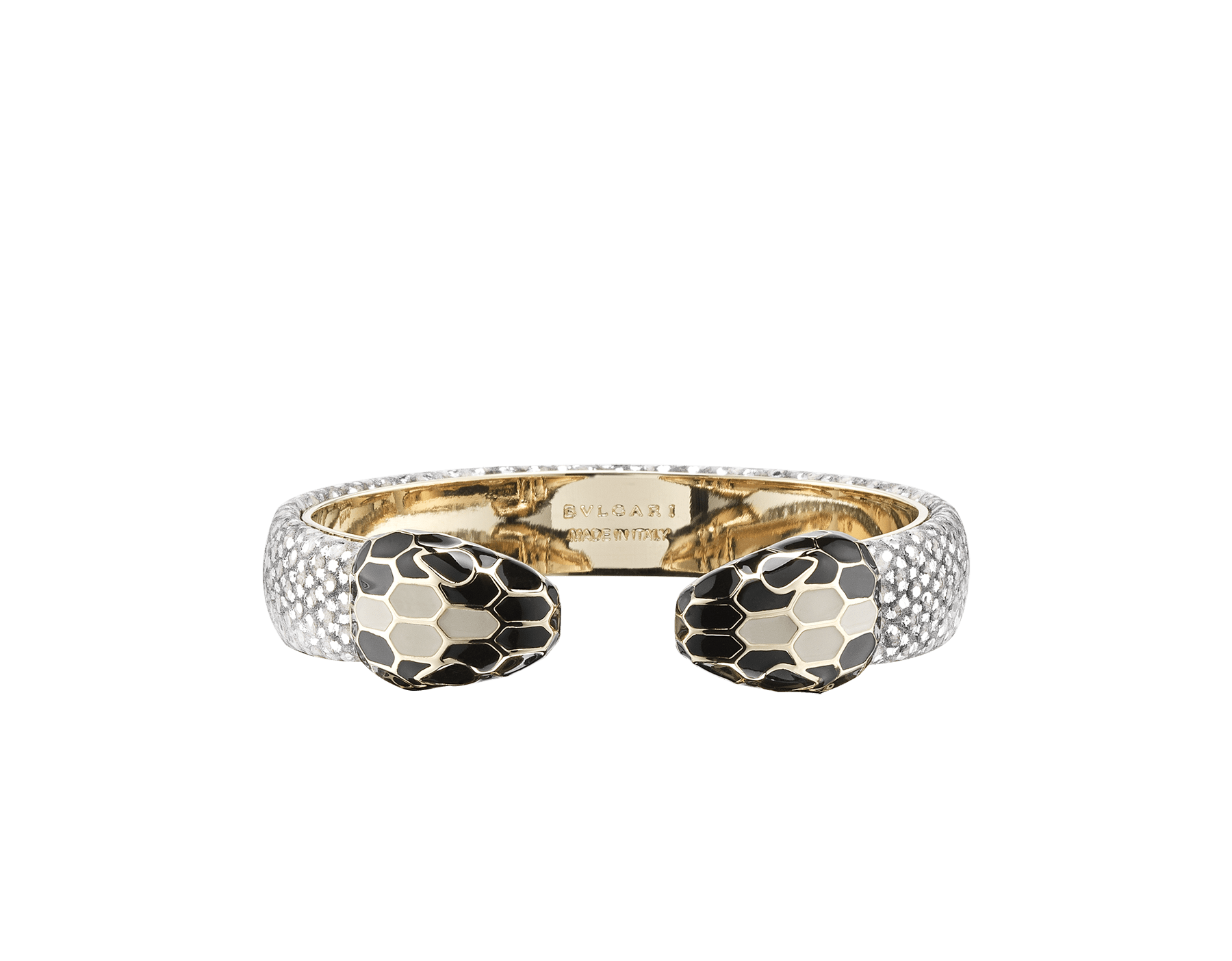 Serpenti Forever bangle bracelet in white agate metallic karung skin, with light gold plated brass hardware. Iconic contraire snakehead décor in black and white agate enamel, with black enamel eyes. SPContr-MK-WA image 1