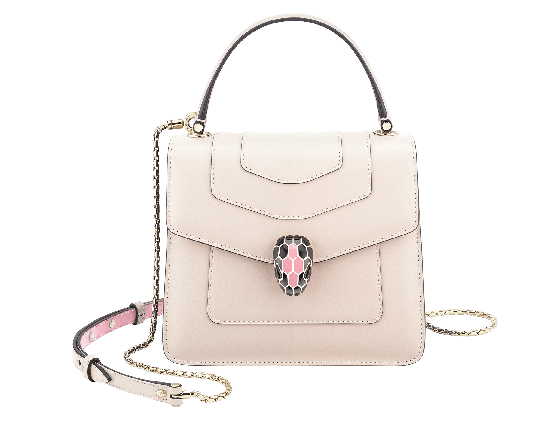 """Serpenti Forever"" crossbody bag with milky opal calf leather body and flamingo quartz calf leather sides. Iconic snakehead closure in light gold-plated brass enriched with milky opal and black enamel and black onyx eyes. 287978 image 1"