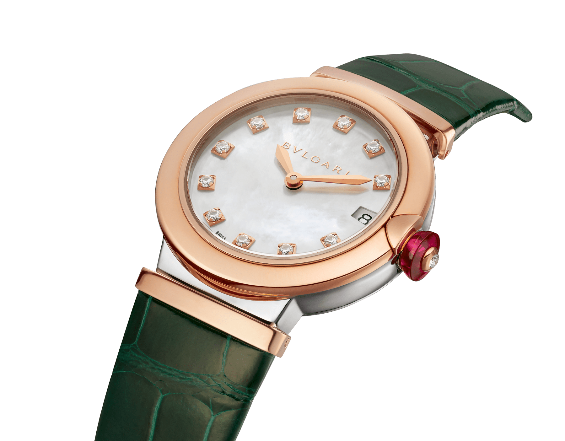 LVCEA watch with 18 kt rose gold and stainless steel case, white mother-of-pearl dial set with diamond indexes, date aperture and green alligator bracelet. 102640 image 2