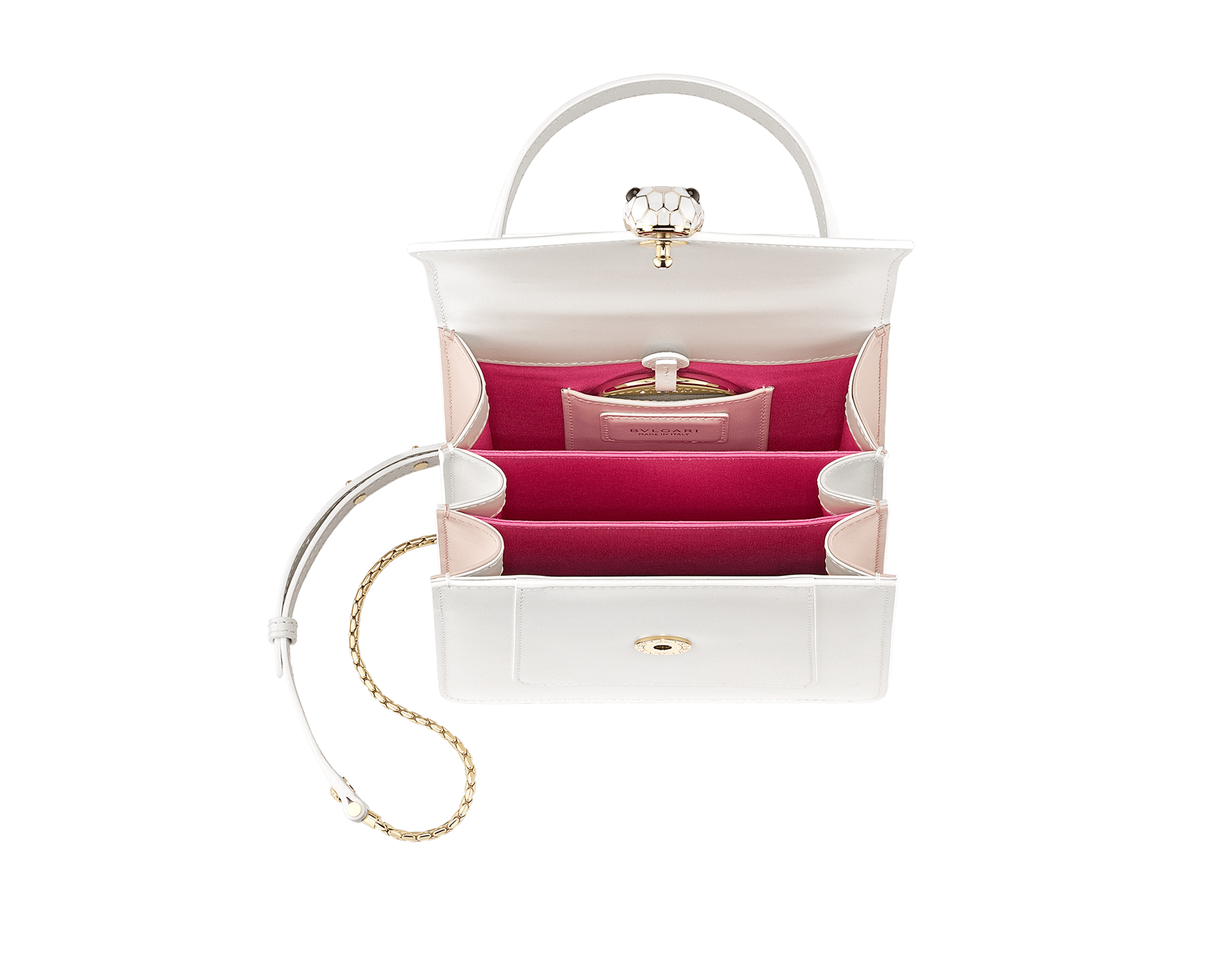"""Serpenti Forever "" crossbody bag in white calf leather body and white agate and crystal rose calf leather sides. Iconic snake head closure in light gold plated brass enriched with white and crystal rose enamel and black onyx eyes. 752-MCLa image 4"