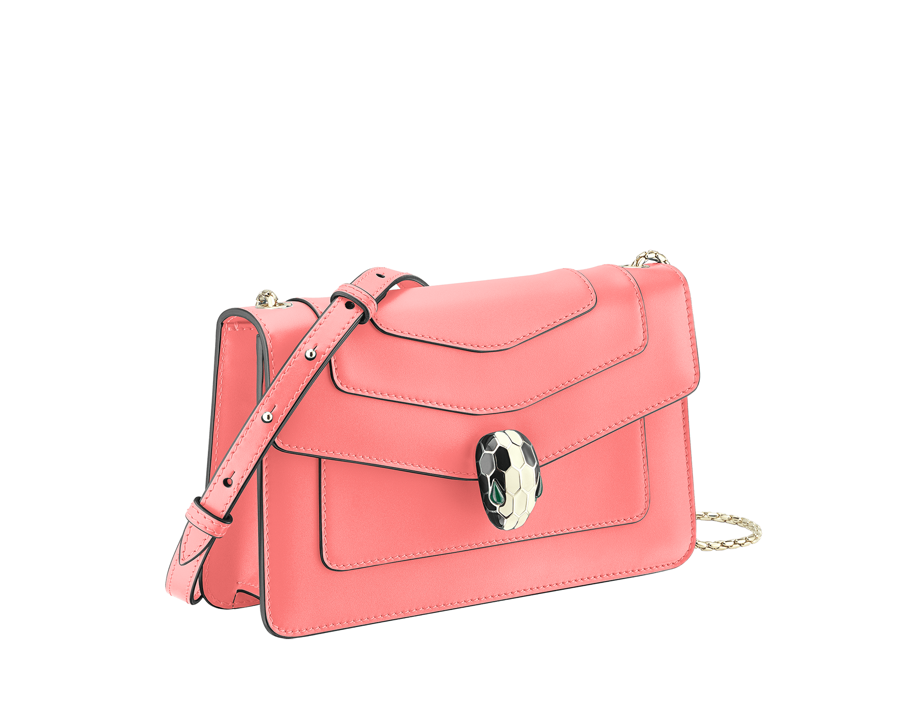 """Serpenti Forever"" crossbody bag in silky coral calf leather. Iconic snake head closure in light gold plated brass enriched with black and white enamel and green malachite eyes. 288708 image 2"