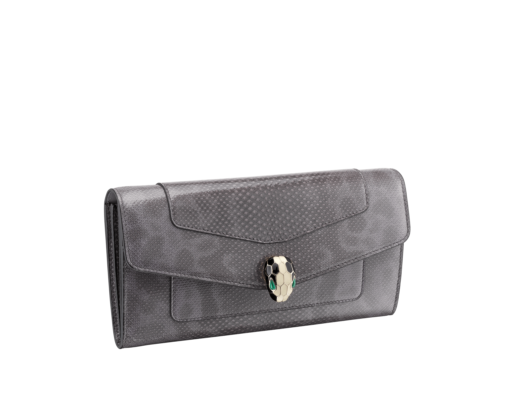 Serpenti Forever wallet pochette in rhapsody opal shiny karung skin and calf leather. Iconic snakehead stud closure in black and white enamel, with green malachite eyes 287255 image 1