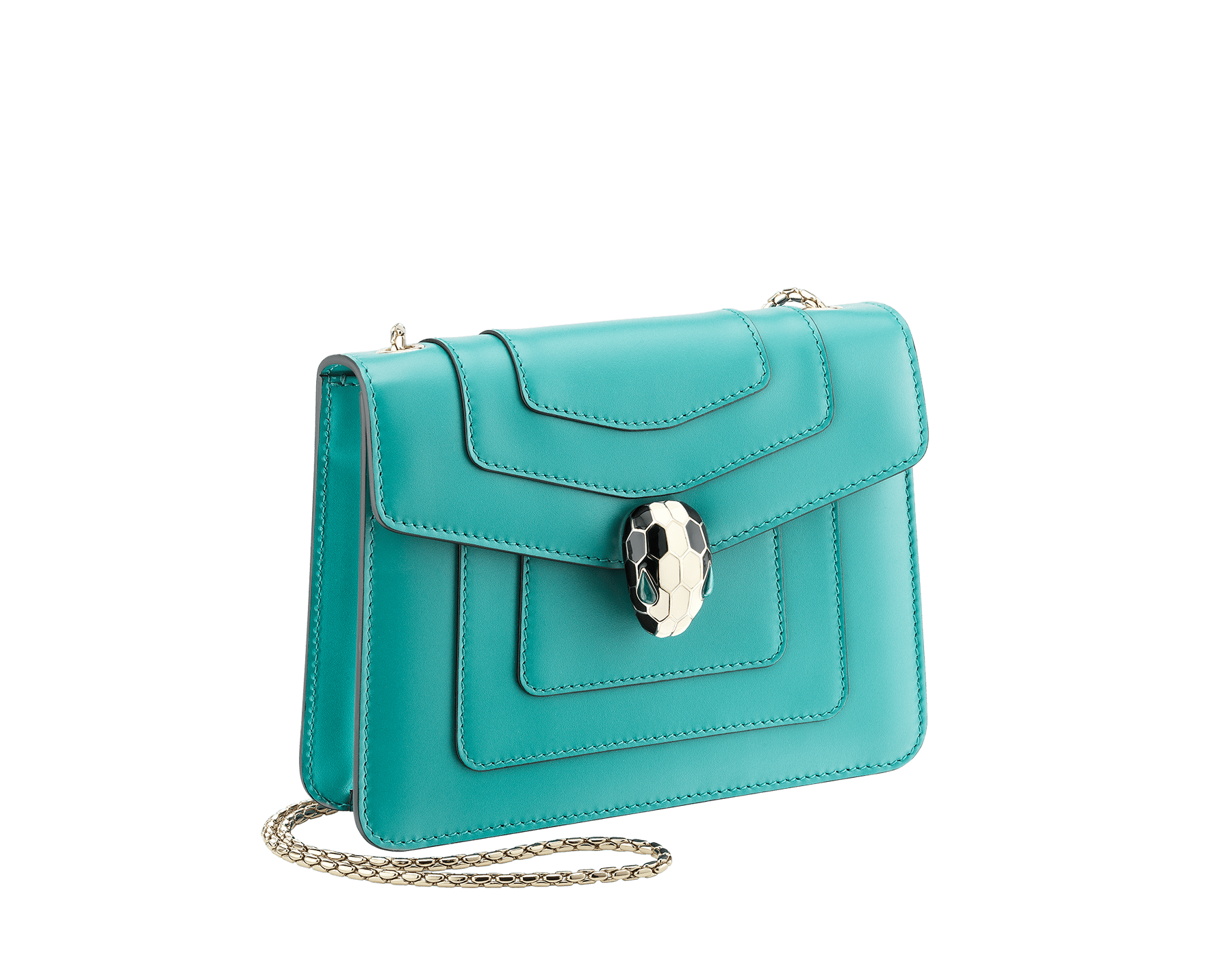 """Serpenti Forever"" crossbody bag in arctic jade calf leather. Iconic snake head closure in light gold plated brass enriched with black and white enamel and green malachite eyes. 288696 image 2"
