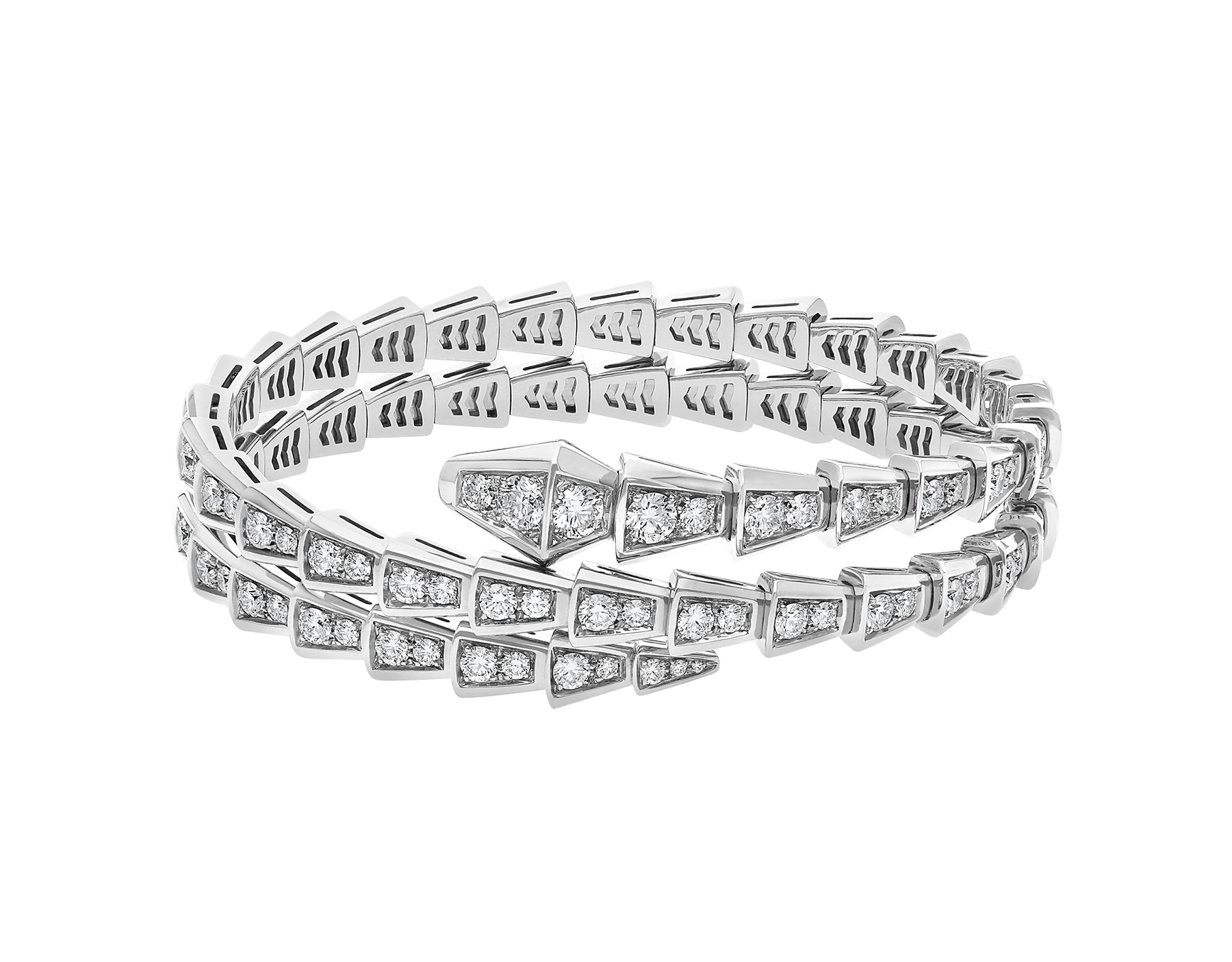 Serpenti Viper two-coil 18 kt white gold bracelet set with pavé diamonds BR858795 image 2