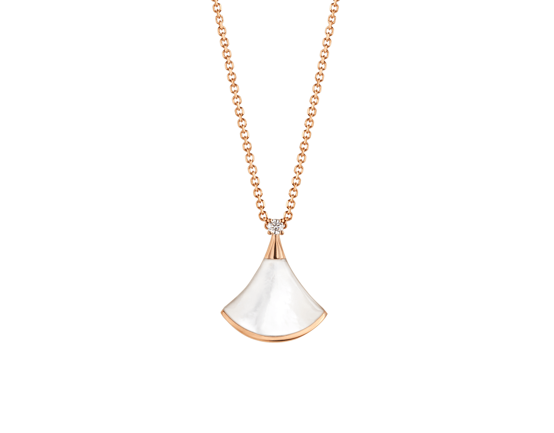 DIVAS' DREAM necklace in 18 kt rose gold with 18 kt rose gold pendant set with one diamond and mother-of-pearl. 350581 image 1