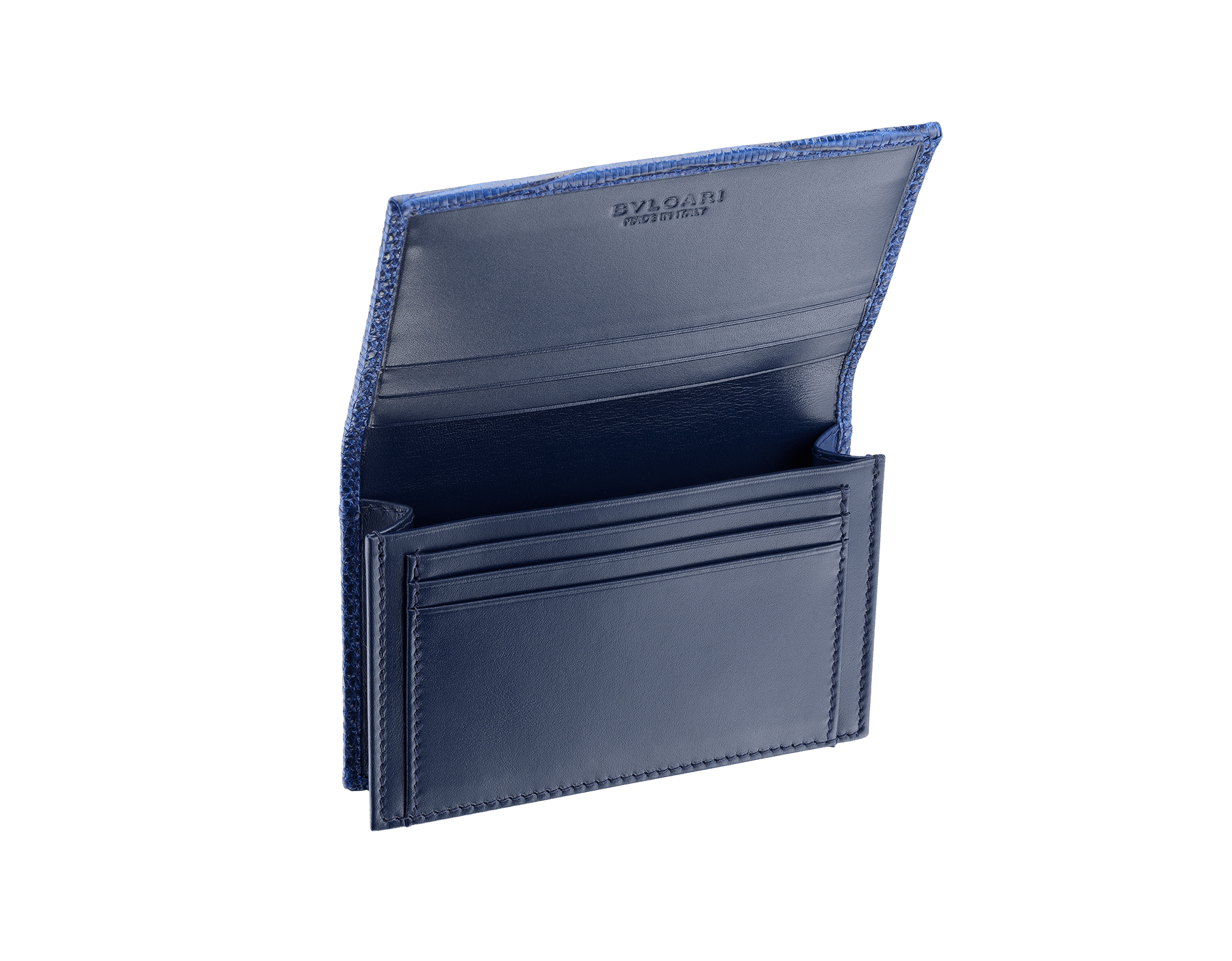 Business card holder in denim sapphire shiny lizard skin and calf leather with brass palladium plated BVLGARI BVLGARI motif. Three credit card slots, one open pocket and Business cards compartment. BBM-BC-HOLD-SIMPLE-sl image 2