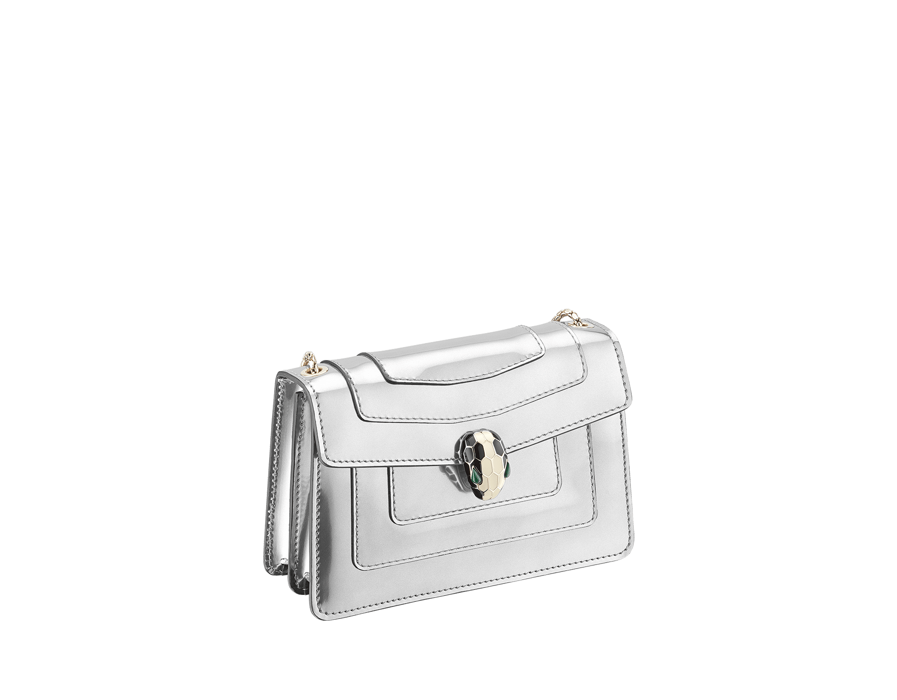 Serpenti Forever mini crossbody bag in silver brushed metallic calf leather. Brass light gold plated snake head closure in black and white enamel, with green malachite eyes. 288051 image 2
