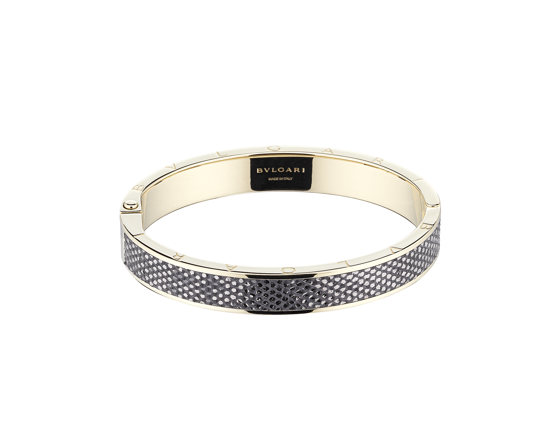 """BVLGARI BVLGARI"" bangle bracelet in light gold-plated brass with a Charcoal Diamond grey metallic karung skin insert and a BVLGARI logo hinge closure. Logo engraving along the edges of both sides of the bracelet and in the inner part. HINGELOGOBRACLT-MK-CD image 1"