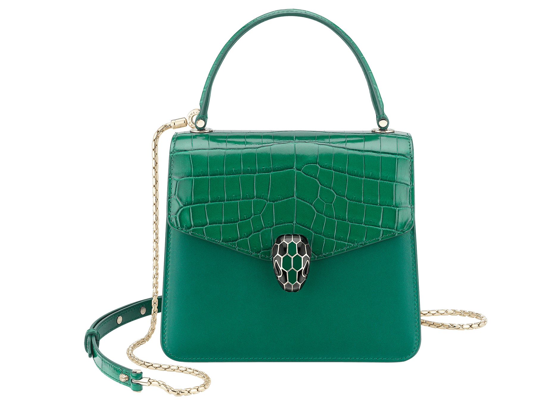 """Serpenti Forever "" crossbody bag in emerald green shiny croco flap and emerald green calf leather body and sides. Iconic snake head closure in light gold plated brass enriched with black and emerald green enamel and black onyx eyes. 288977 image 1"
