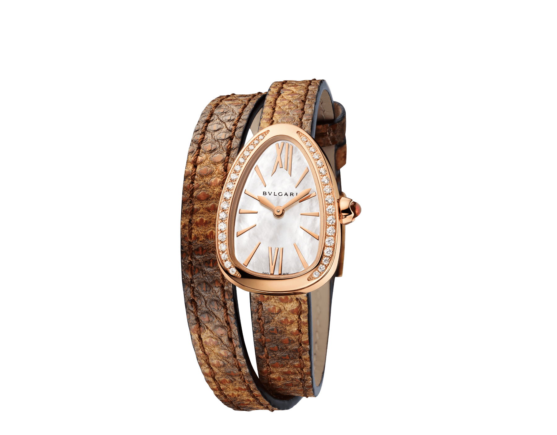 Serpenti watch with 18 kt rose gold case set with brilliant cut diamonds, white mother-of-pearl dial and interchangeable double spiral bracelet in brown karung leather. 102727 image 2
