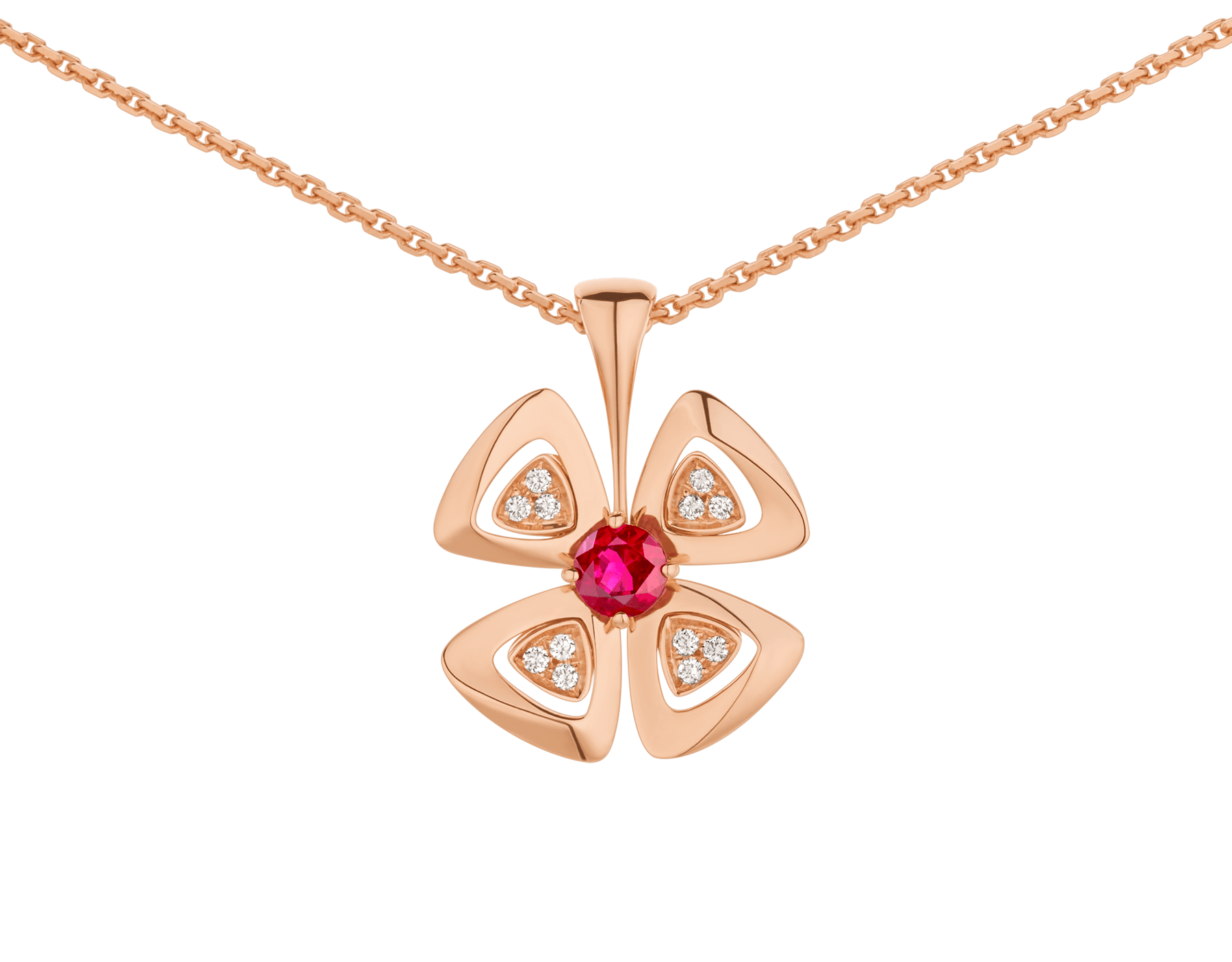 Fiorever 18 kt rose gold pendant necklace set with a central ruby (0.30 ct) and pavé diamonds. Special Edition 357759 image 3