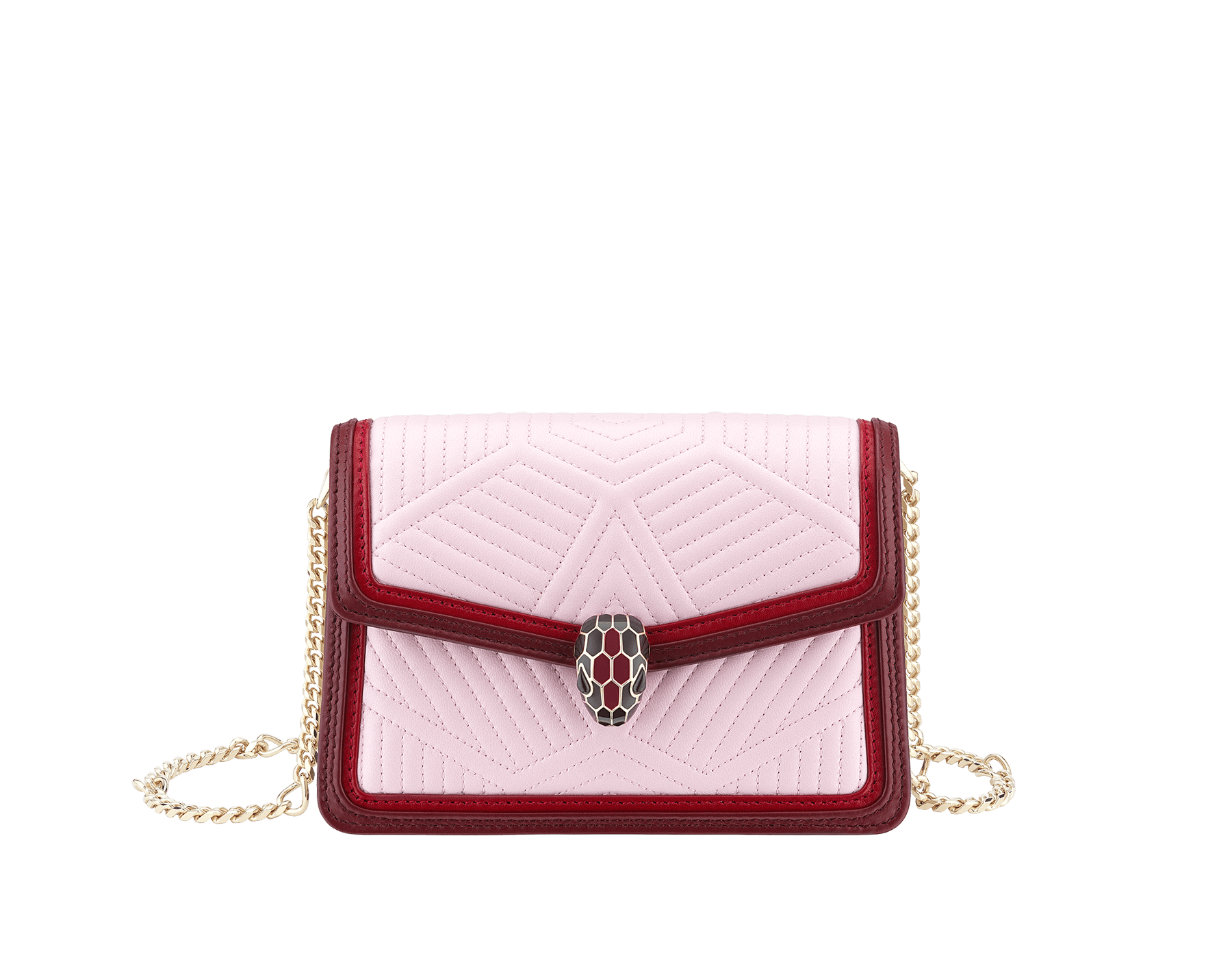 """Serpenti Diamond Blast"" crossbody micro bag in rosa di francia quilted nappa leather body and Roman garnet calf leather frames. Iconic snakehead closure in light gold plated brass enriched with black and ruby red enamel and black onyx eyes. 288844 image 1"