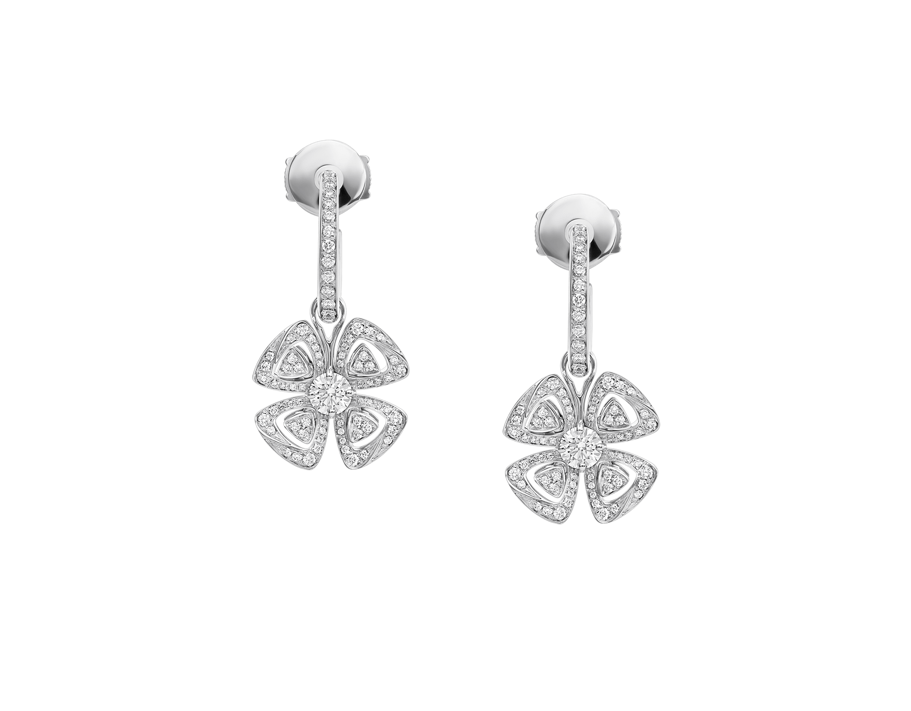 Fiorever 18 kt white gold hoop earring, set with two central round brilliant-cut diamonds and pavé diamonds. 357323 image 1