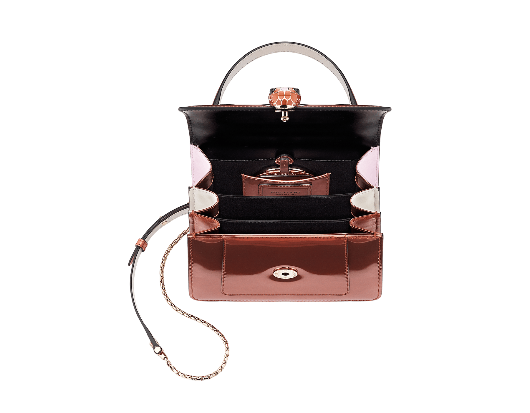Serpenti Forever crossbody bag in imperial topaz brushed metallic calf leather with Roman garnet, rosa di francia and white agate calf leather sides. Iconic snakehead closure in light gold plated brass embellished with imperial topaz and white enamel and black onyx eyes. 752-NBMCL image 5