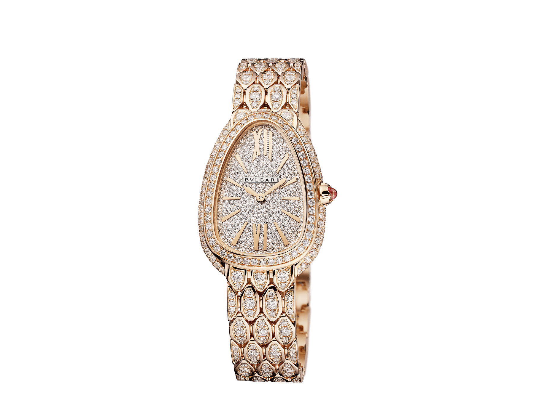 Serpenti Seduttori watch with 18 kt rose gold case and bracelet both set with diamonds, and full pavé dial 103160 image 2