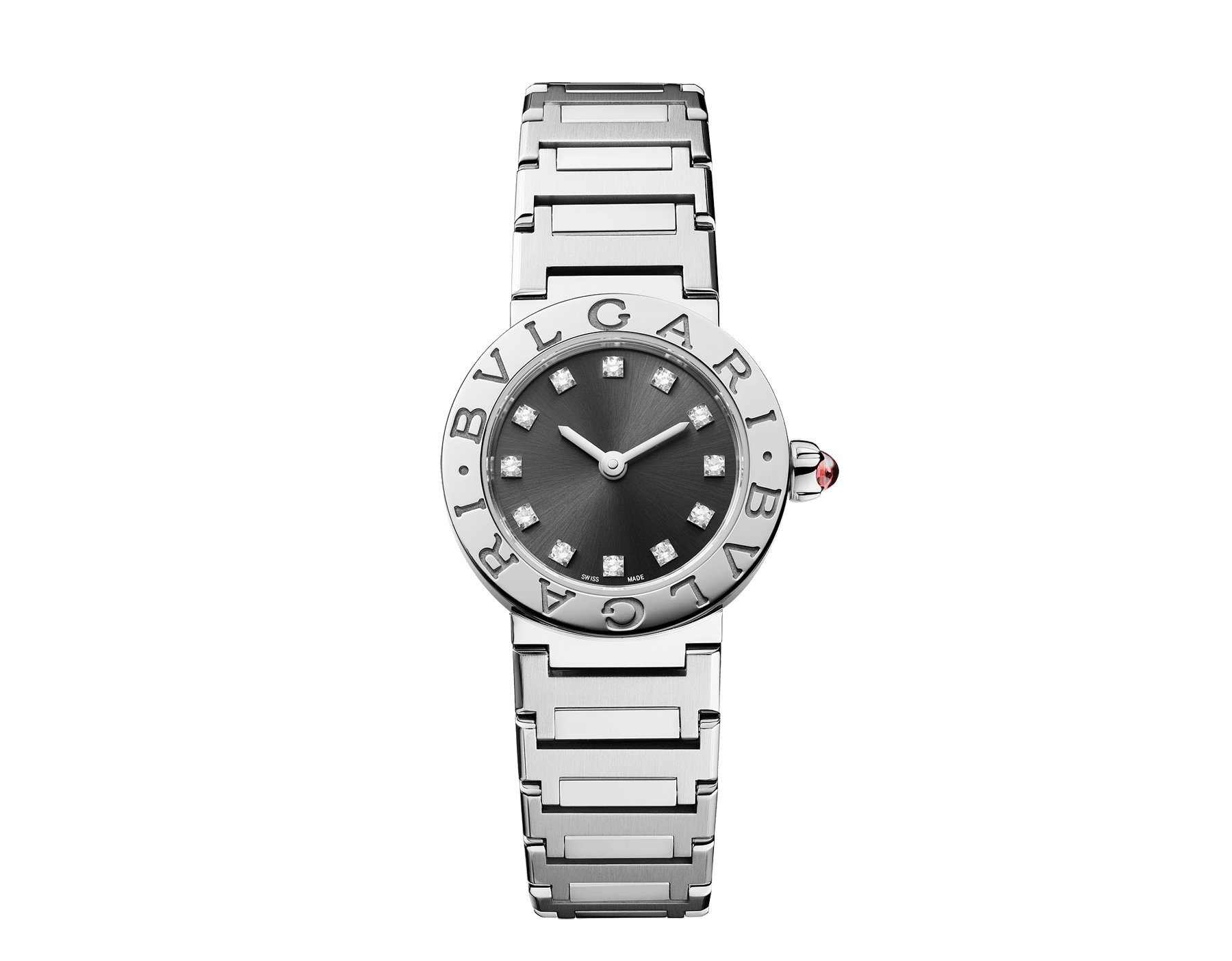 BVLGARI BVLGARI LADY watch in stainless steel case and bracelet, stainless steel bezel engraved with double logo, anthracite satiné soleil lacquered dial and diamond indexes 102942 image 1