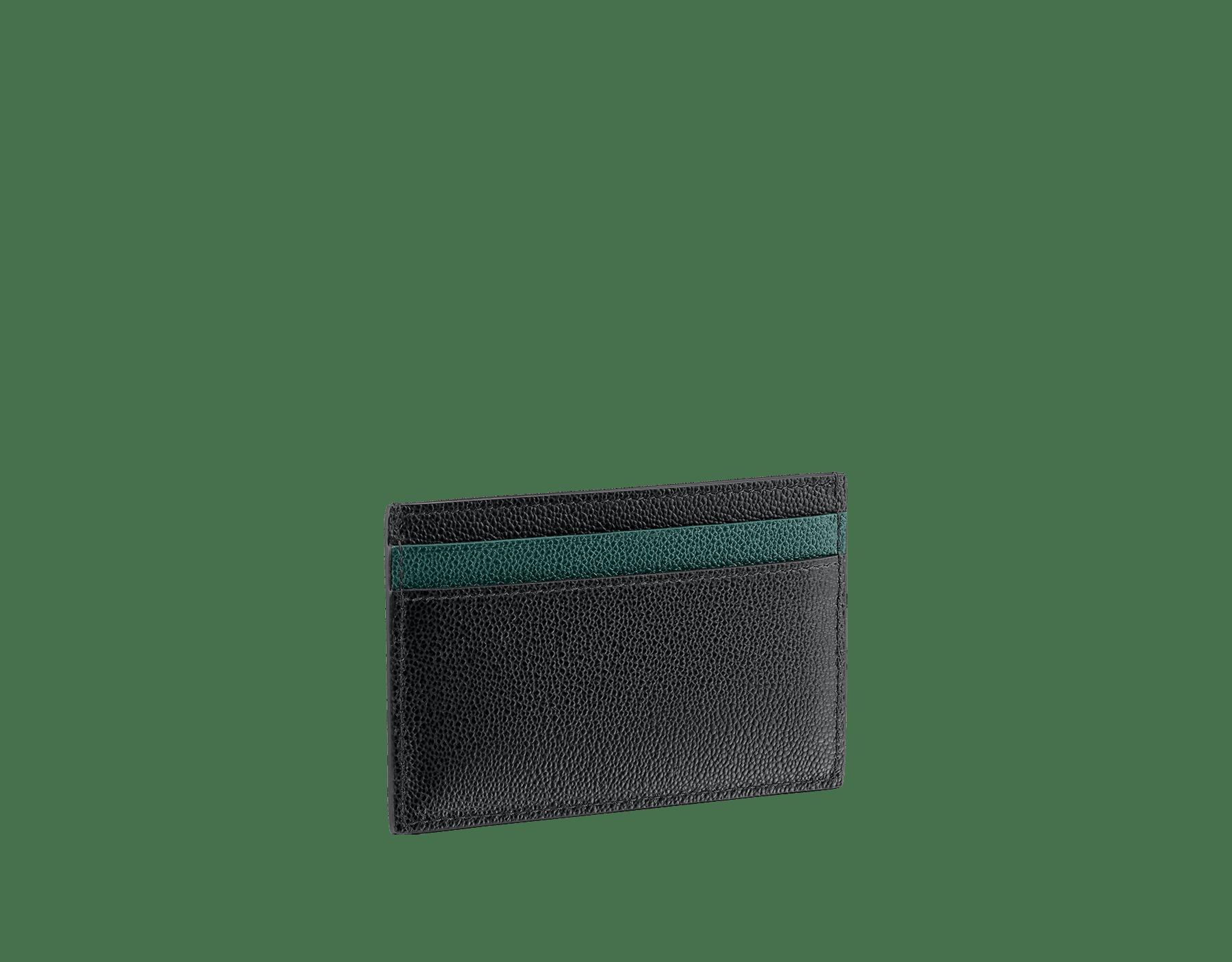 """BVLGARI BVLGARI"" men's card holder in black and Forest Emerald green ""Urban"" grain calf leather. Iconic logo embellishment in dark ruthenium-plated brass with black enameling. BBM-CCHOLDERASYM image 2"