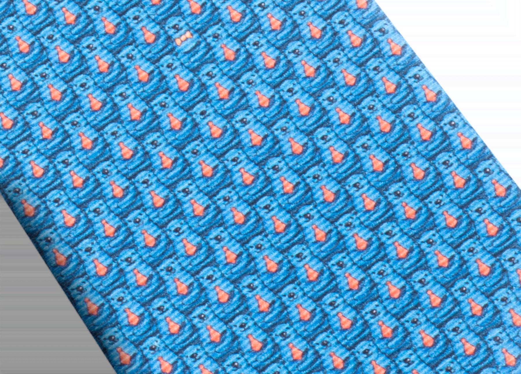 Dark blue Bear Daddy pattern seven-folds tie in fine saglione printed silk. 243622 image 2