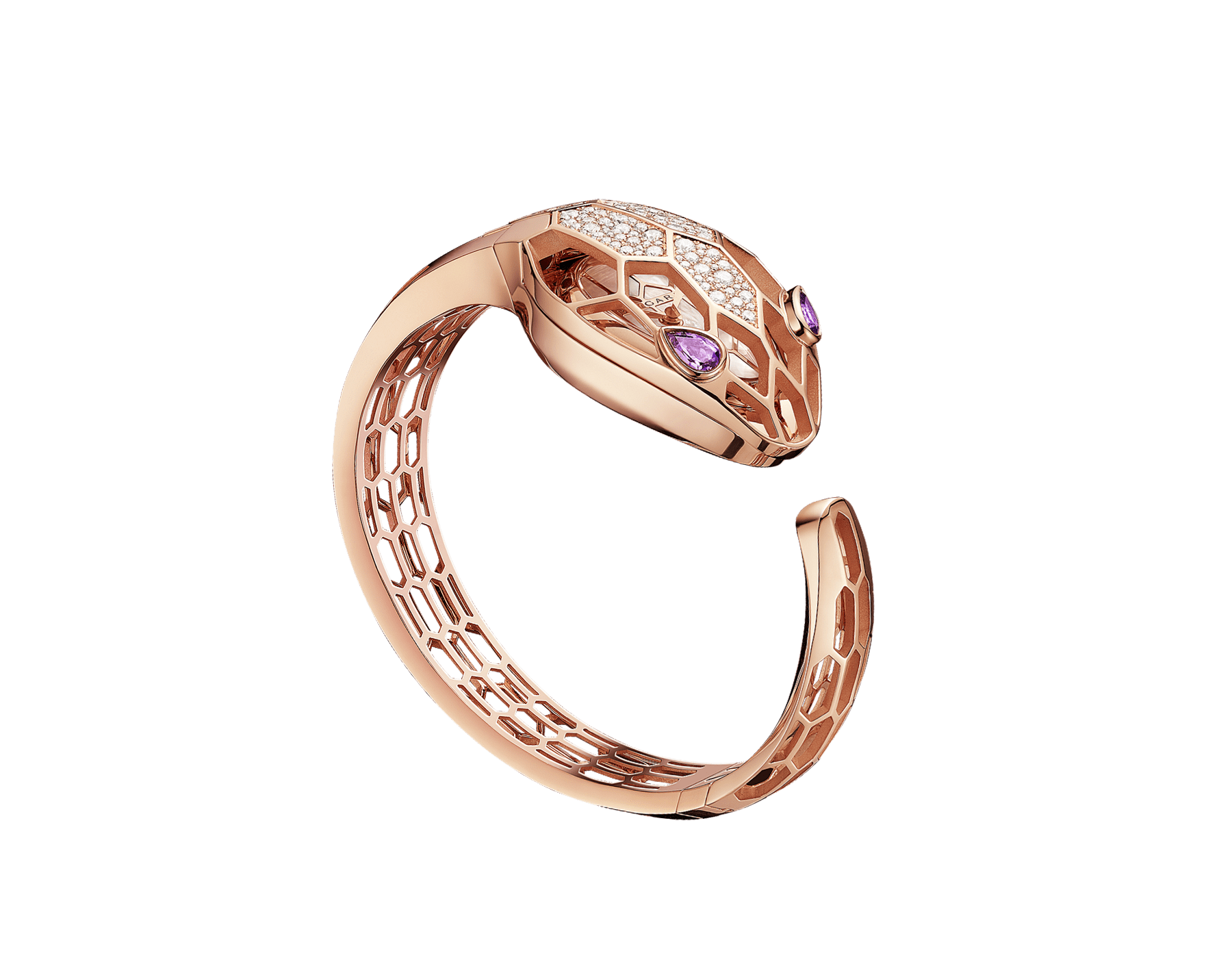Serpenti Misteriosi Secret Watch with 18 kt rose gold skeletonized case set with round brilliant-cut diamonds, white mother-of-pearl dial, 18 kt rose gold skeletonized bangle bracelet and pear-shaped amethyst eyes. SrpntMister-SecretWtc-rose-gold image 8