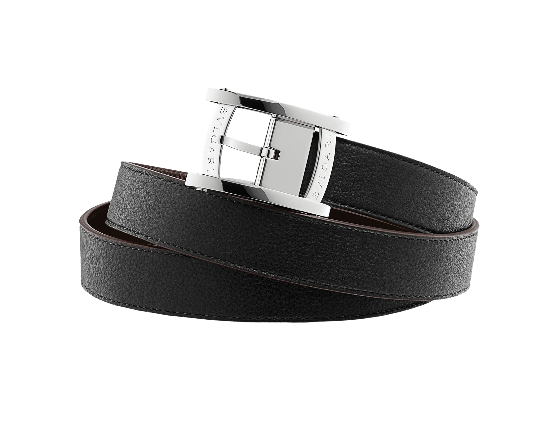 Reversible black full grain calf leather and seal brown Palmellato calf leather belt for men with brass palladium plated hardware. A sports buckle inspired by the Assioma men's watch bezel. ASSIOMA-RV-FGCL image 1