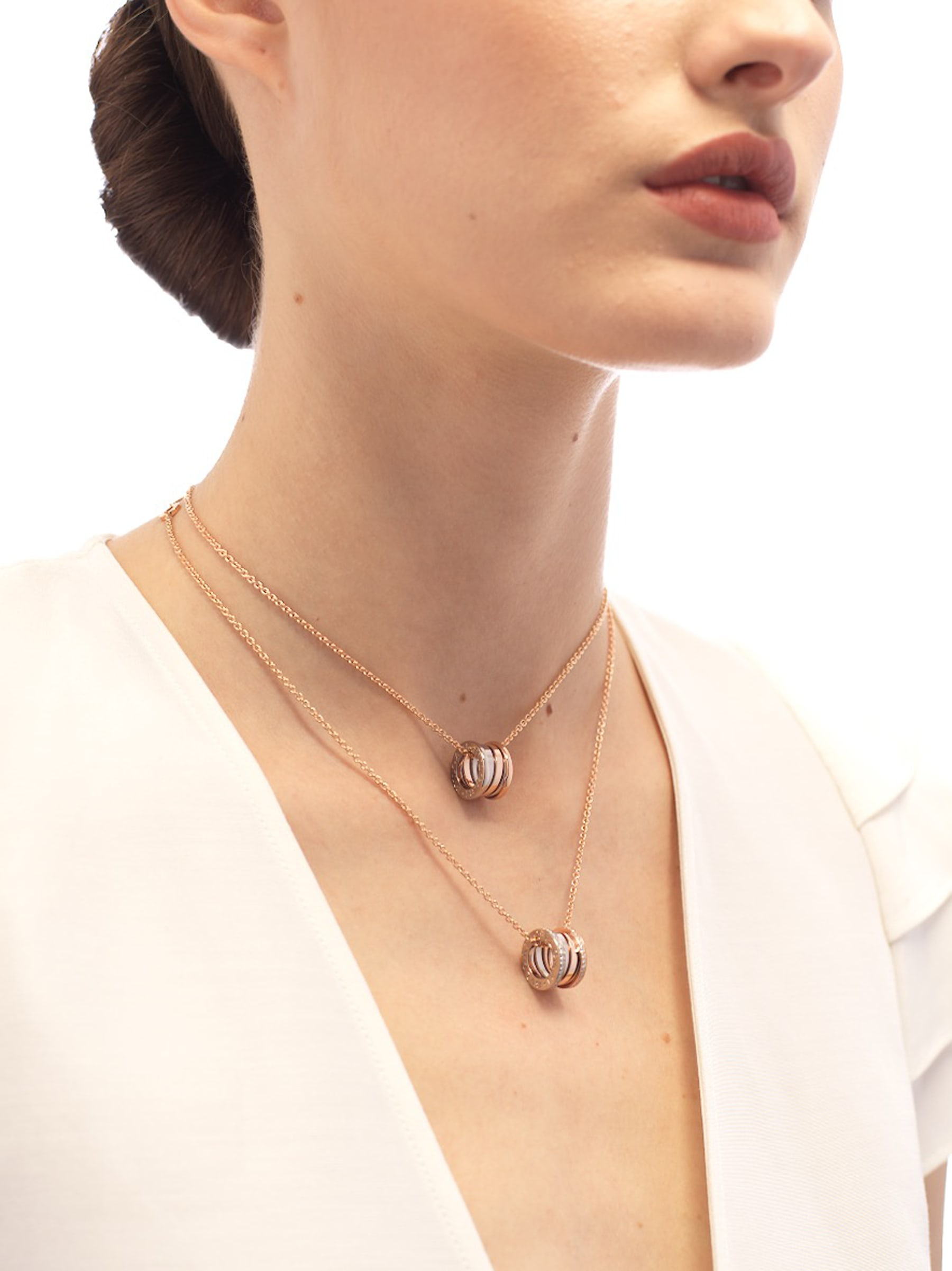 B.zero1 necklace with 18 kt rose and white gold pendant set with pavé diamonds (0.41 ct) on the edges and 18 kt rose gold chain. 355062 image 3