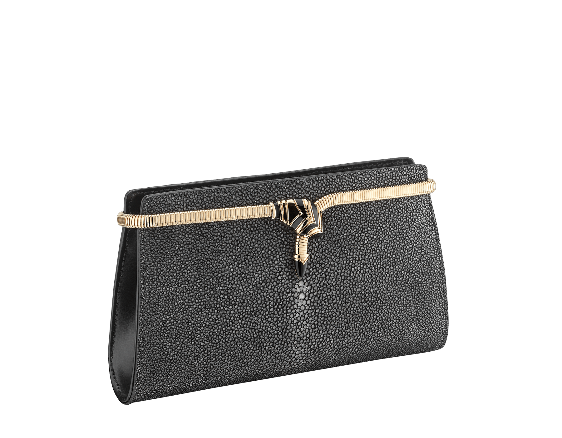 Serpenti Tubogas clutch in black galuchat skin and calf leather. Brass light rose gold plated snake body-shaped frame closure with black enamel. 526-001-0671S image 2