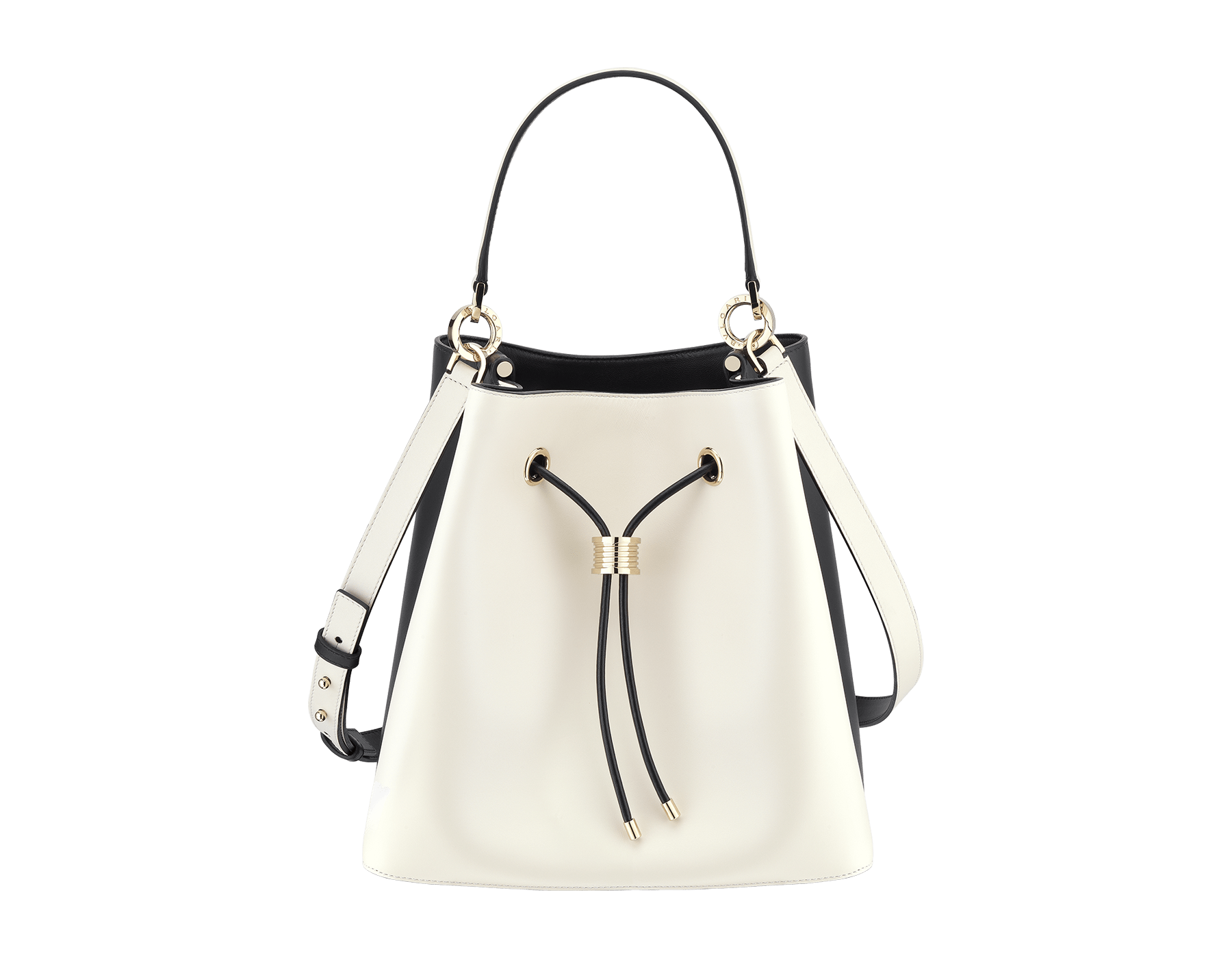 """""""B.zero1"""" bucket bag in black smooth calf leather and black nappa leather internal lining. Hardware in light gold plated brass, featuring a B.zero1 décor. 975-BCL image 1"""