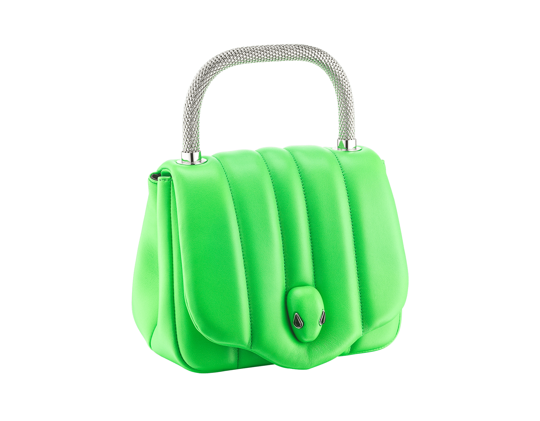 """Ambush x Bvlgari"" top handle bag in bright green nappa leather. New Serpenti head closure in palladium plated brass dressed with bright green nappa leather, finished with seductive black onyx eyes. Limited edition. 290346 image 2"