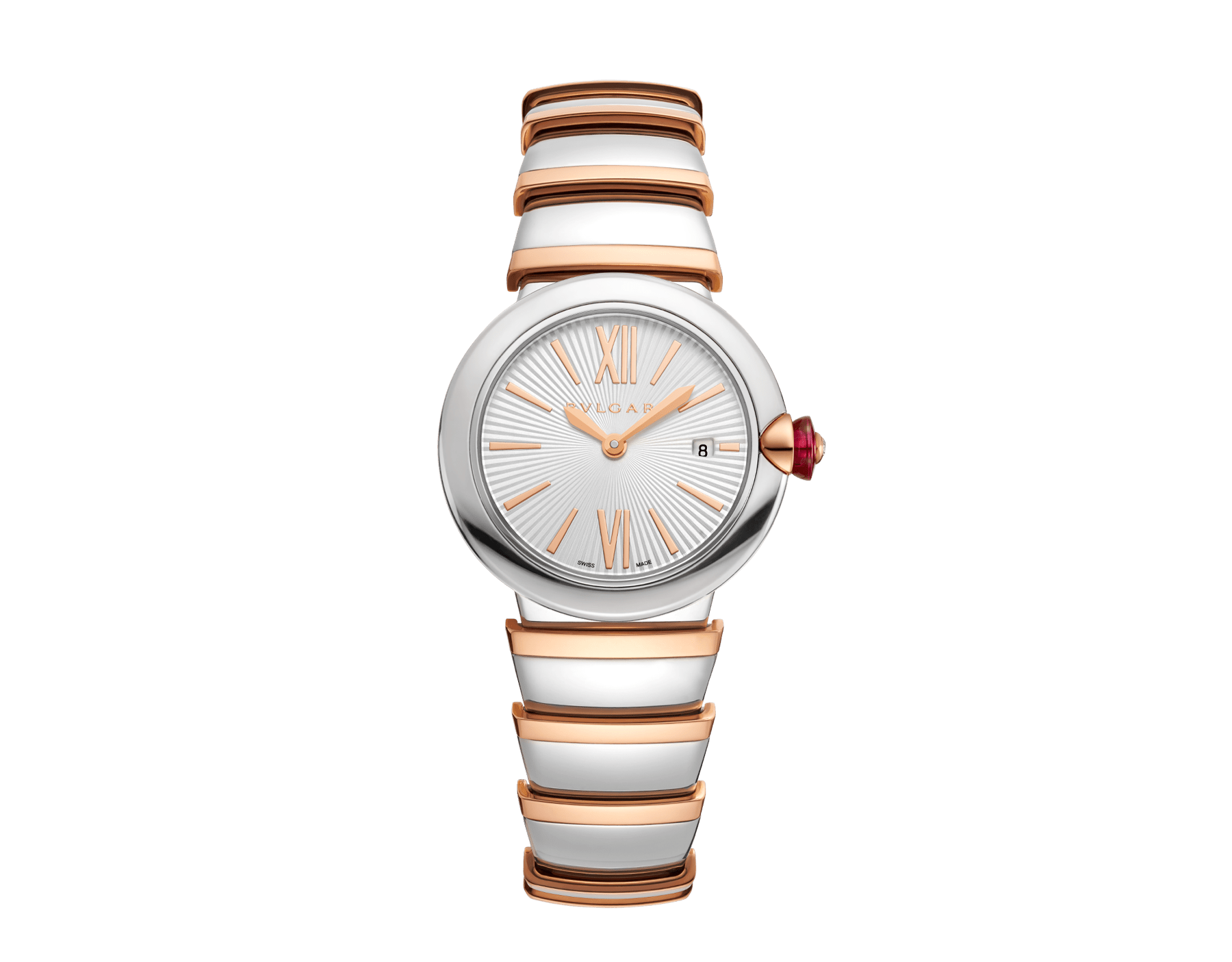 LVCEA watch with stainless steel case, silver opaline dial and bracelet in 18 kt rose gold and stainless steel. 102193 image 1