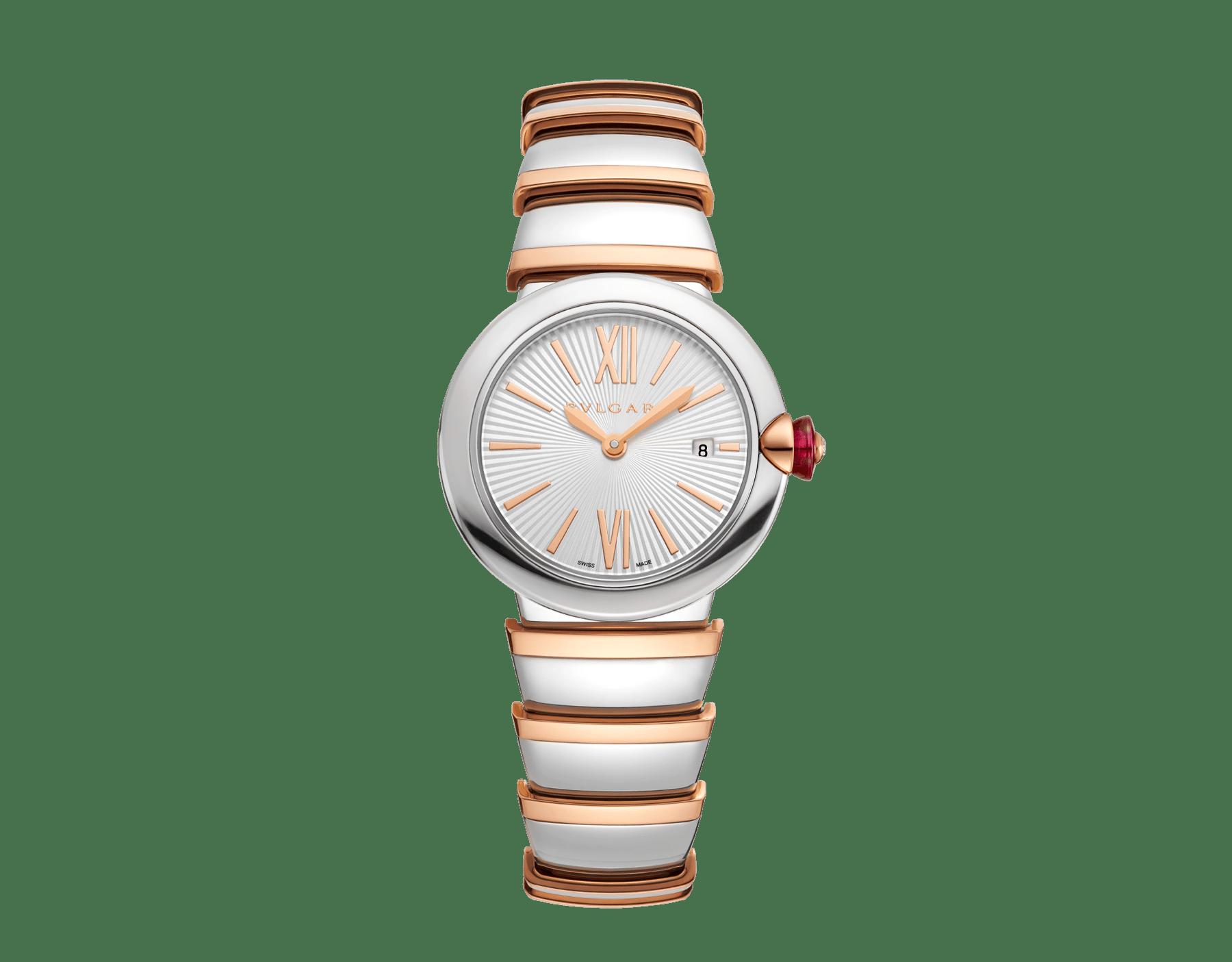 Часы LVCEA, корпус из нержавеющей стали, серебристый опаловый циферблат, браслет из розового золота 18 карат и нержавеющей стали. 102193 image 1