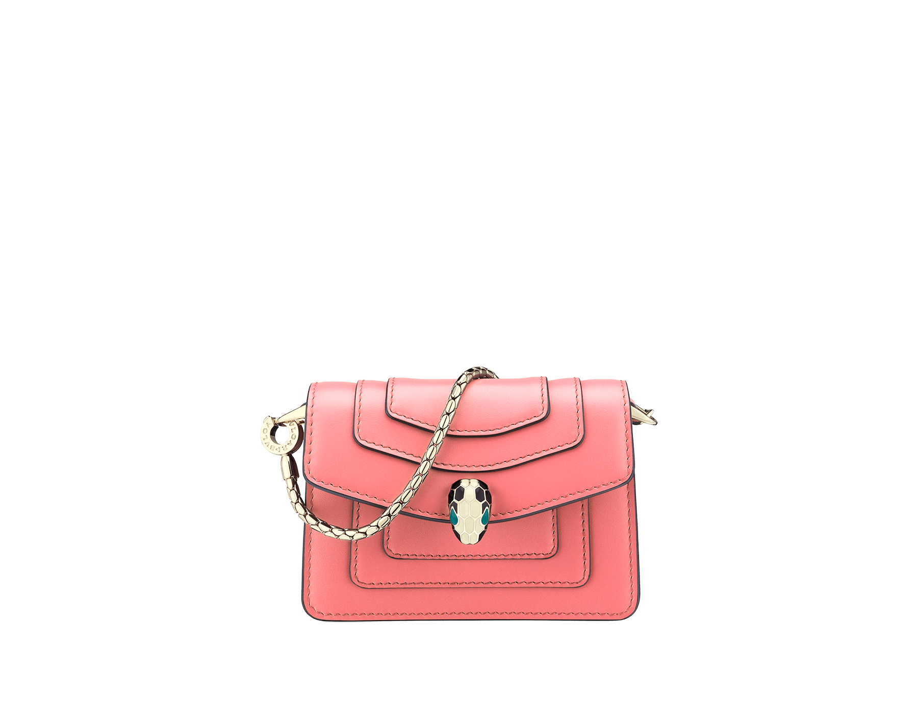 Bag charm Serpenti Forever miniature in silky coral and flamingo quartz nappa lining. Iconic brass light gold plated snakehead stud closure enameled in black and white agate and finished with green enamel eyes. 289256 image 1