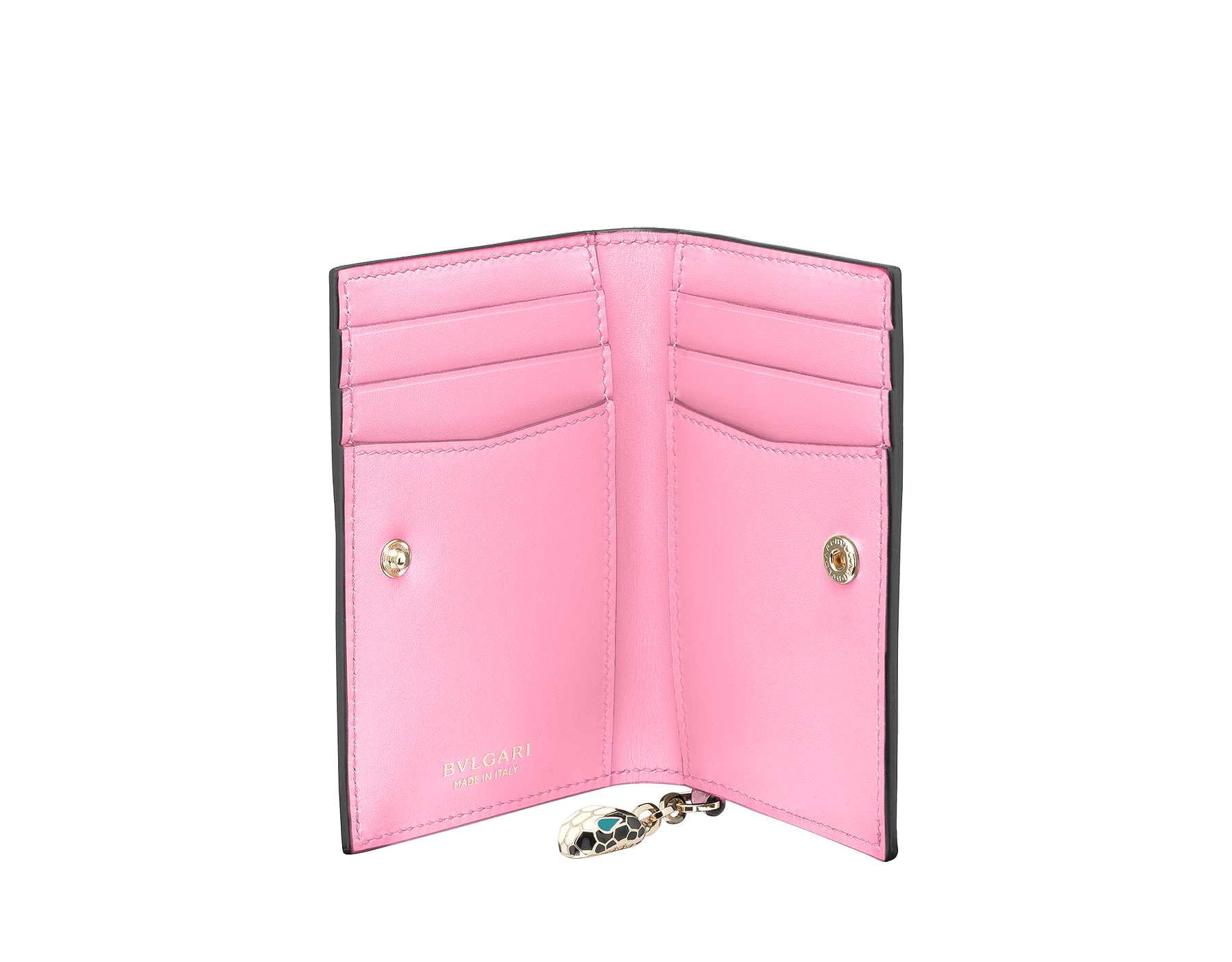 Serpenti Forever folded credit card holder in silky coral and flamingo quartz calf leather. Iconic snakehead charm in black and white enamel, with green malachite enamel eyes. 288823 image 2