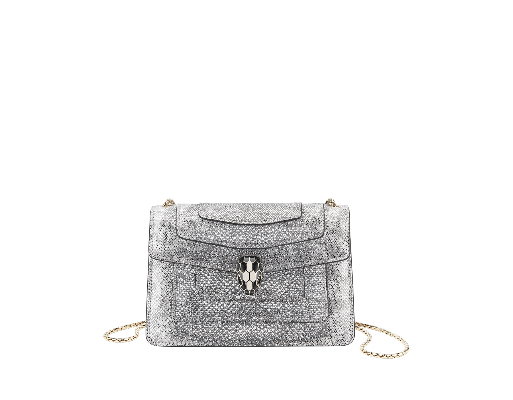 Serpenti Forever mini crossbody bag in white agate metallic karung skin. Brass light gold-plated snake head closure in black and white enamel with black onyx eyes. 986-MK image 1