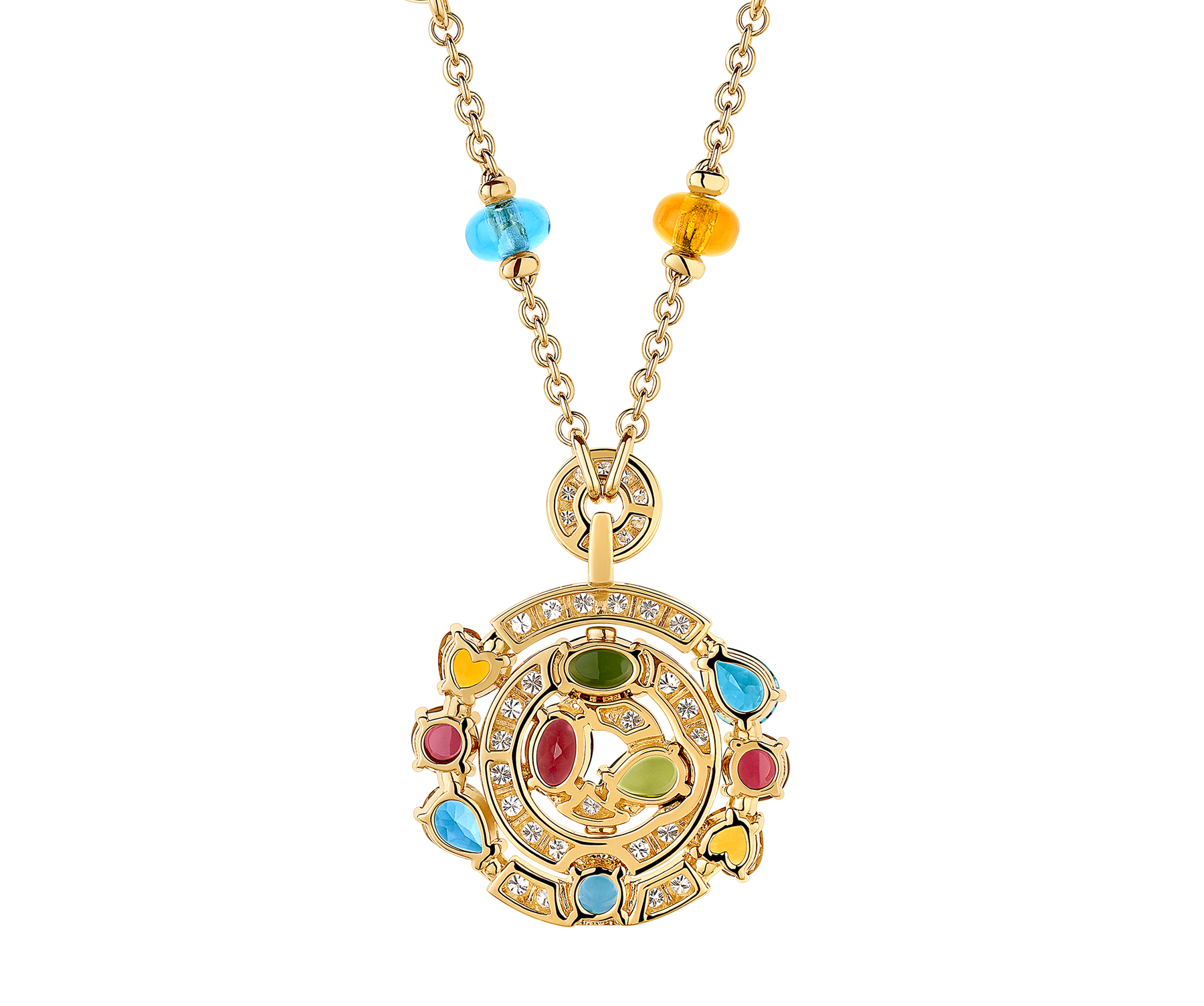 Cerchi 18 kt yellow gold large pendant necklace set with blue topazes, amethysts, green tourmalines, peridots, citrine quartz, rhodolite garnets and pavé diamonds 338229 image 3