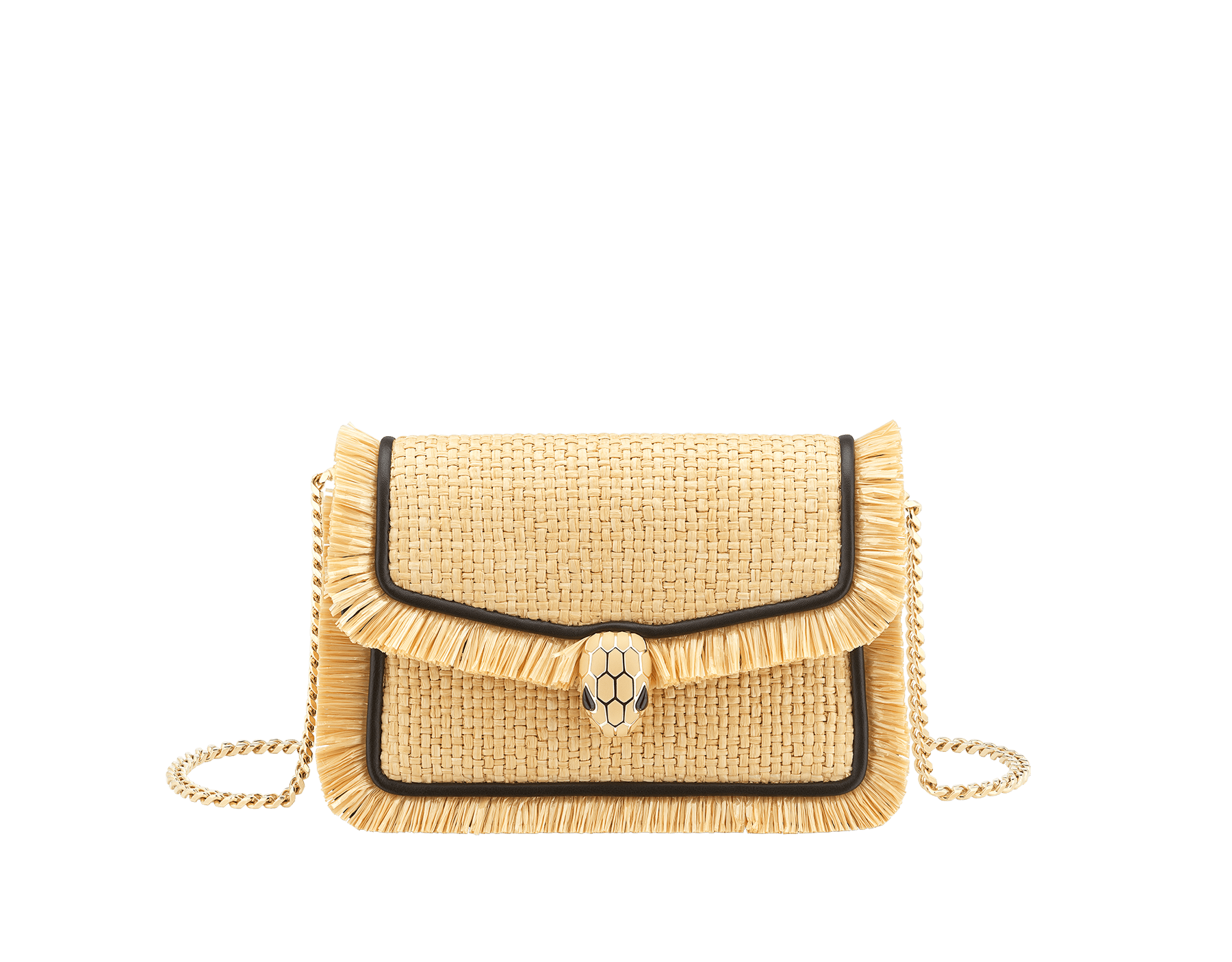 """Serpenti Diamond Blast"" crossbody mini bag in beige raffia body, Rosa di Francia pink calf leather frames finished with beige raffia fringes, and Rosa di Francia pink nappa leather internal lining. Alluring snakehead closure in light gold-plated brass enhanced with full matte Natural beige enamel and black onyx eyes. Online Exclusive 520 Special Edition. 290961 image 1"