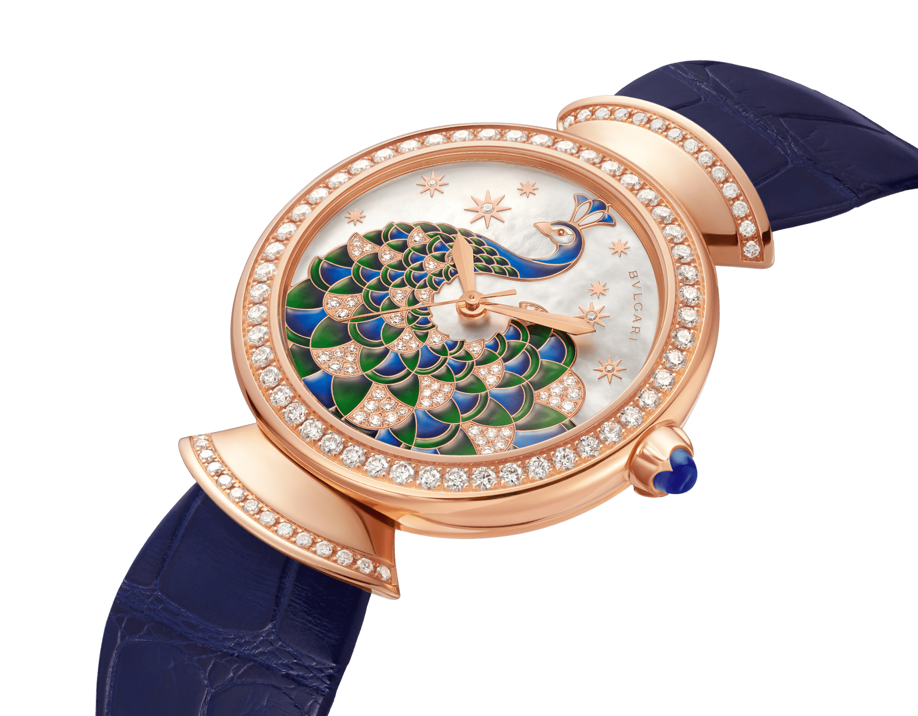 DIVAS' DREAM watch with 18 kt rose gold case set with brilliant-cut diamonds, mother-of-pearl dial with hand-painted peacock set with diamonds and dark blue alligator bracelet 102741 image 2
