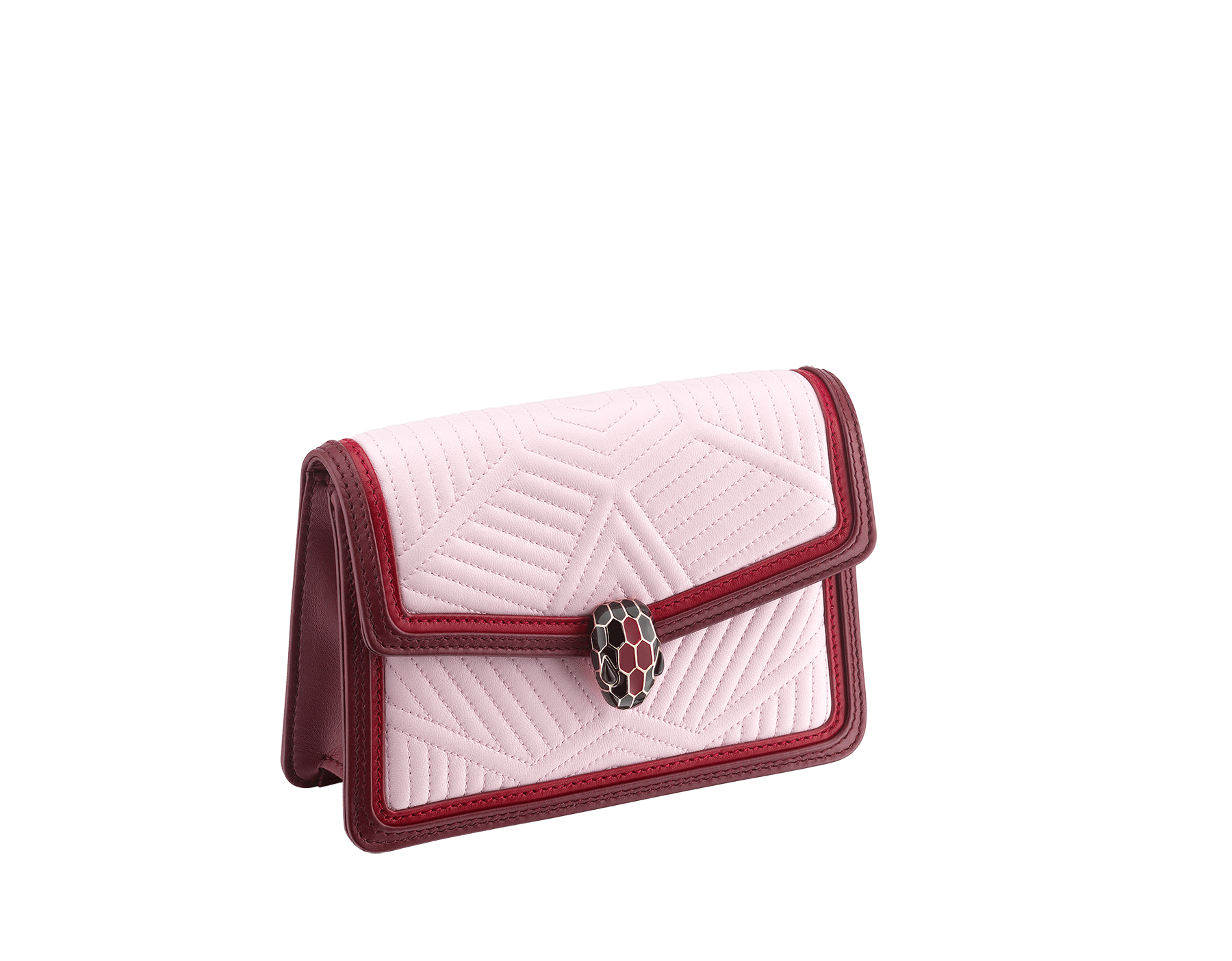 """Serpenti Diamond Blast"" crossbody micro bag in rosa di francia quilted nappa leather body and Roman garnet calf leather frames. Iconic snakehead closure in light gold plated brass enriched with black and ruby red enamel and black onyx eyes. 288844 image 2"