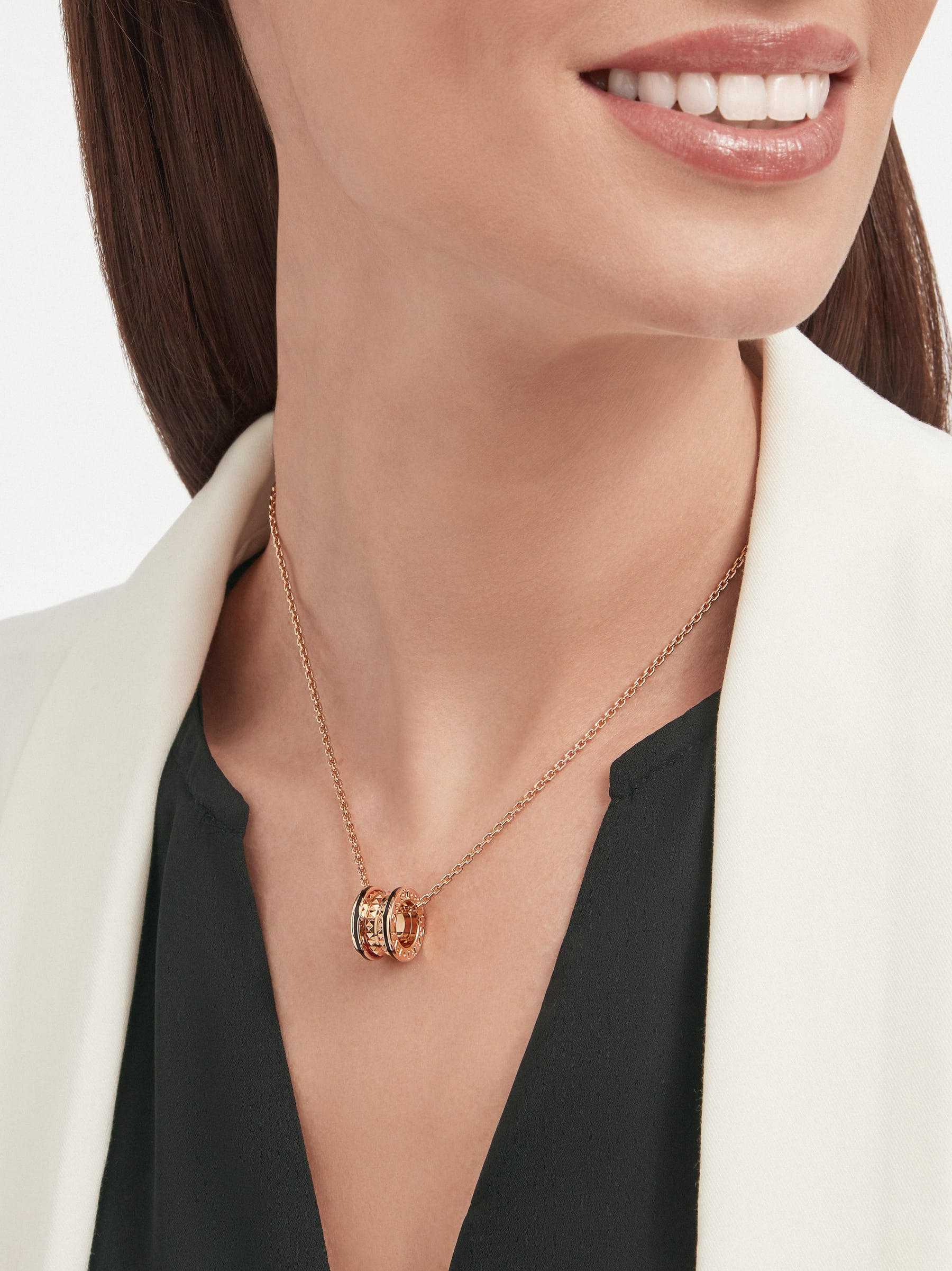 B.zero1 Rock necklace with 18 kt rose gold pendant with studded spiral, black ceramic inserts on the edges and 18 kt rose gold chain 358054 image 4
