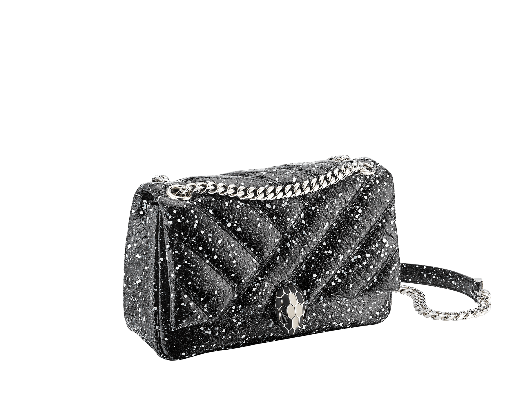 Serpenti Cabochon shoulder bag in soft matelassé black and white cosmic python skin with graphic motif. Snakehead closure in palladium plated brass decorated with matte black and white enamel, and black onyx eyes. 288621 image 2