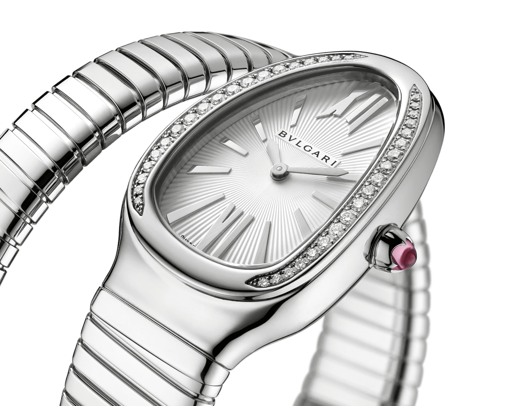Serpenti Tubogas single spiral watch in stainless steel case and bracelet, bezel set with brilliant cut diamonds and silver opaline dial. Large Size. SrpntTubogas-white-dial2 image 3