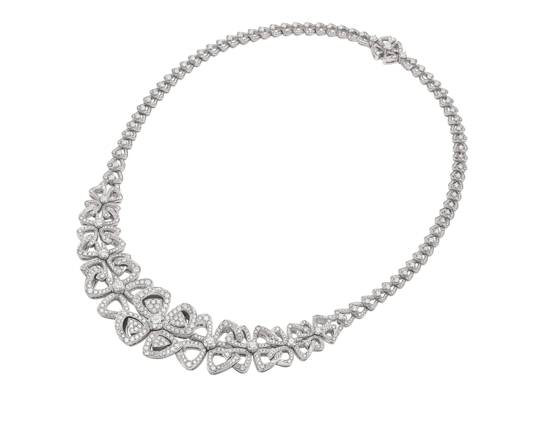 Fiorever 18 kt white gold necklace set with round brilliant-cut diamonds and pavé diamonds. 356934 image 2