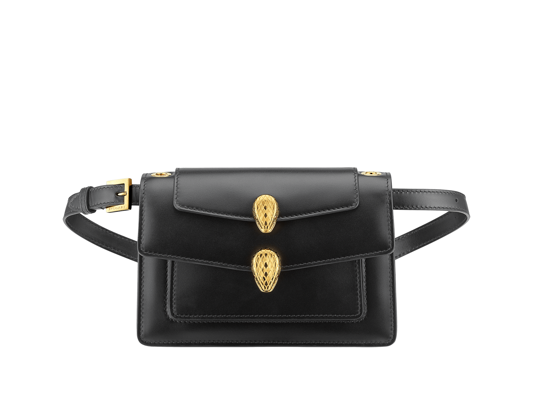 """Alexander Wang x Bvlgari"" belt bag in smooth peach calf leather. New double Serpenti head closure in antique gold plated brass with tempting red enamel eyes. Limited edition. SFW-001-1029S image 4"