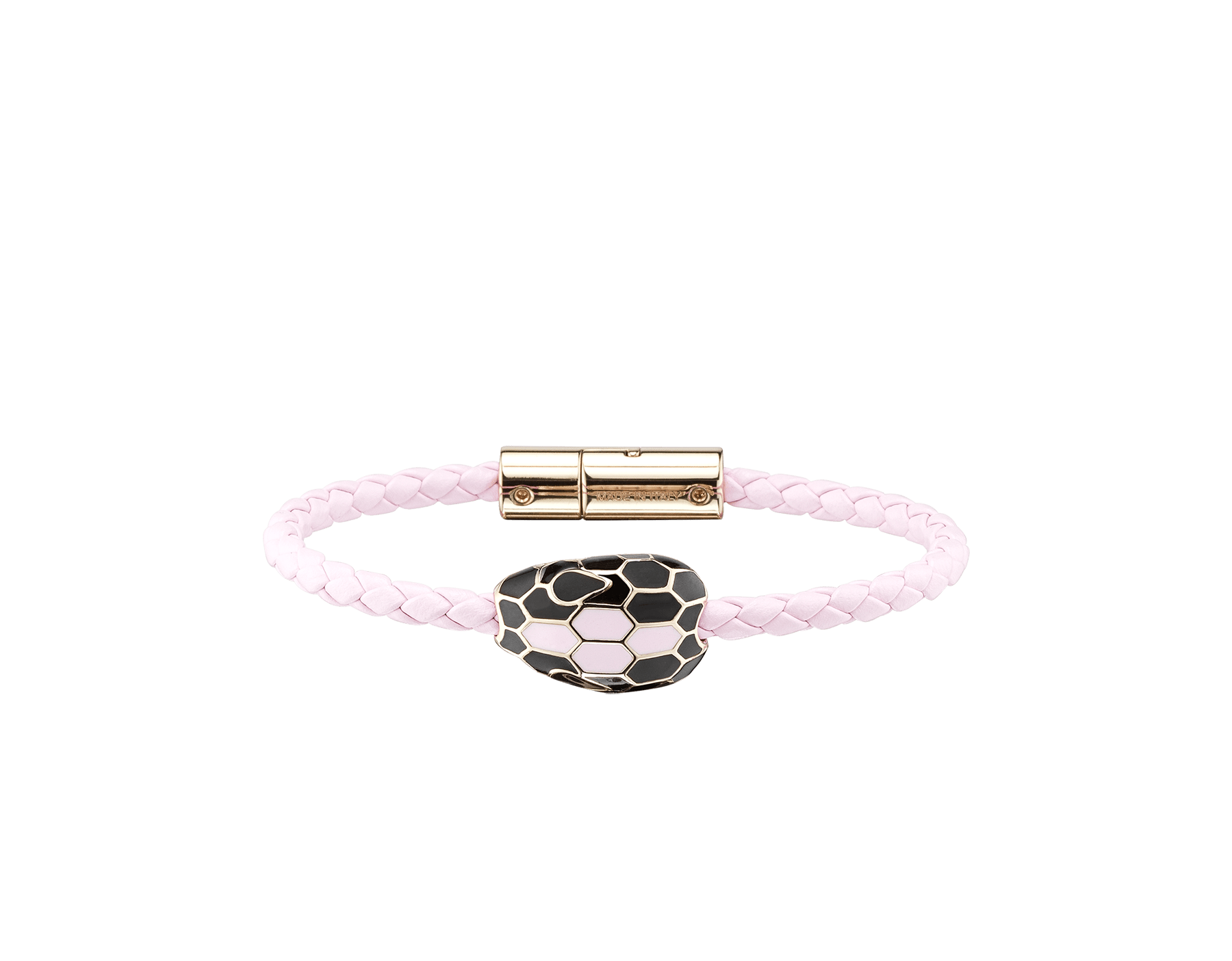 Serpenti Forever braid bracelet in rosa di francia woven calf leather with the iconic snakehead décor in black and rosa di francia enamel. SerpBraid-WCL-RdF image 1