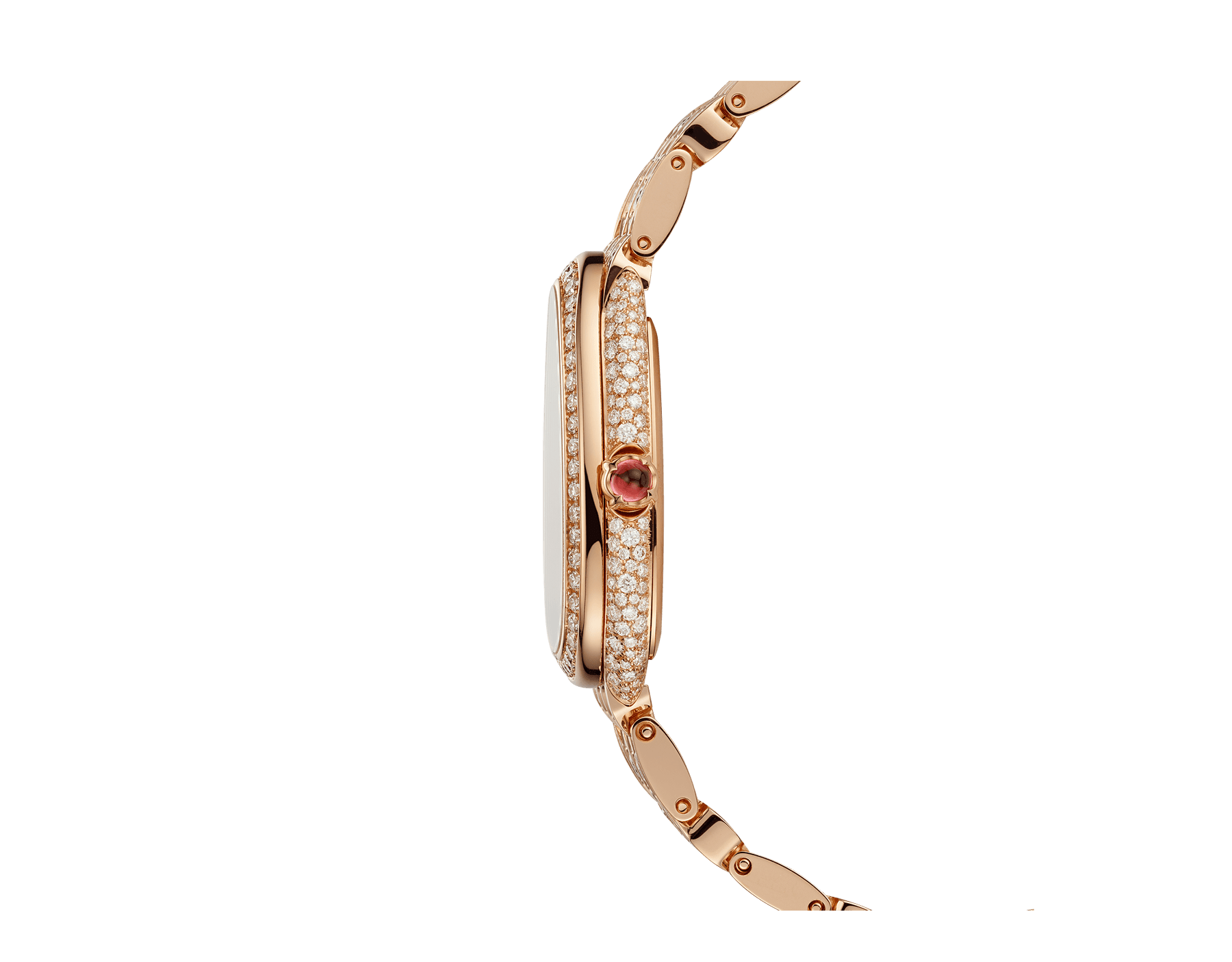 Serpenti Seduttori watch with 18 kt rose gold case and bracelet both set with diamonds, and full pavé dial 103160 image 3
