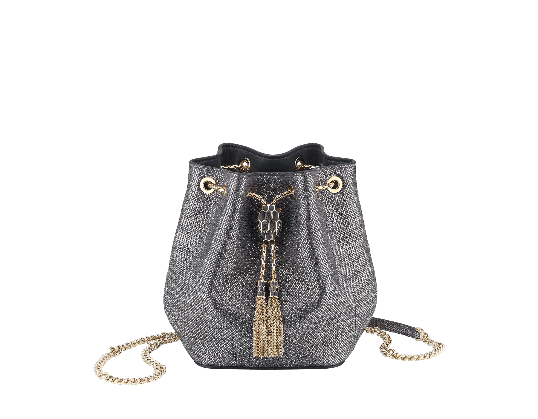 """Serpenti Forever"" micro bucket in charcoal diamond metallic karung skin and charcoal diamond nappa internal lining. Hardware in light gold plated brass and snakehead closure in black and glitter charcoal diamond enamel, with eyes in black onyx. 289948 image 1"