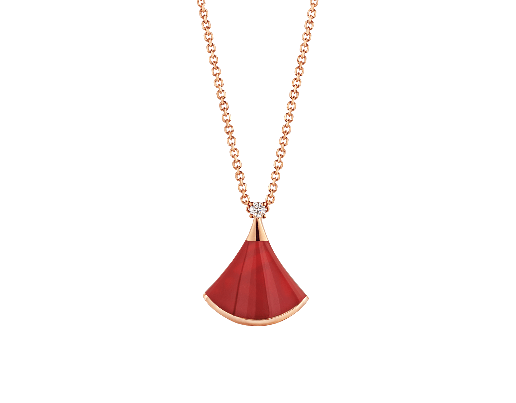 DIVAS' DREAM necklace in 18 kt rose gold with 18 kt rose gold pendant set with one diamond and carnelian. 350583 image 1