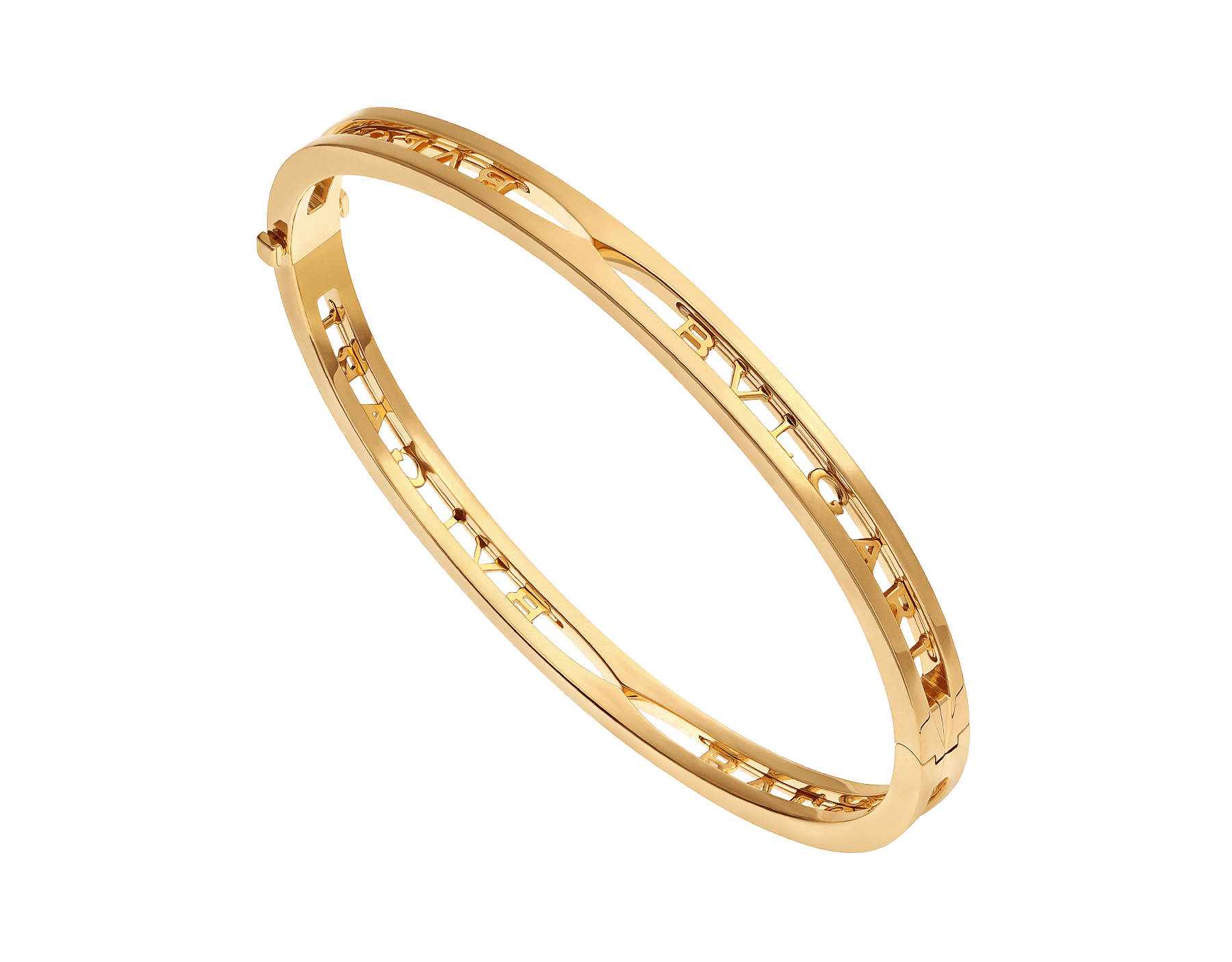 B.zero1 18 kt yellow gold bangle bracelet with BVLGARI logo on the spiral BR858724 image 1